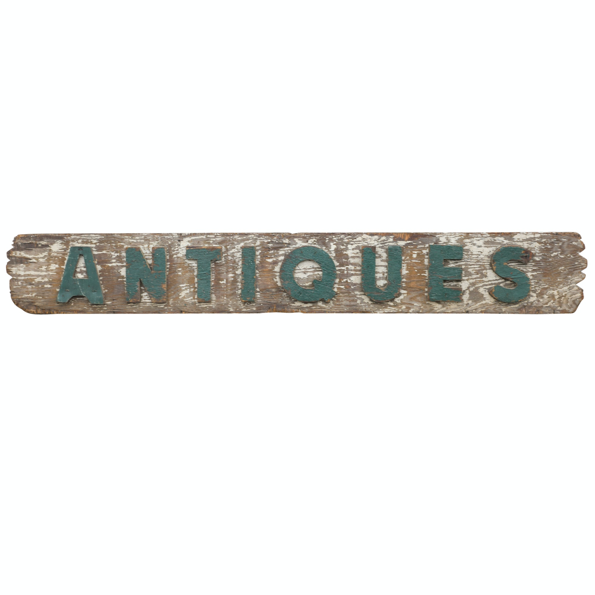 Vintage Wooden Antiques Store Sign
