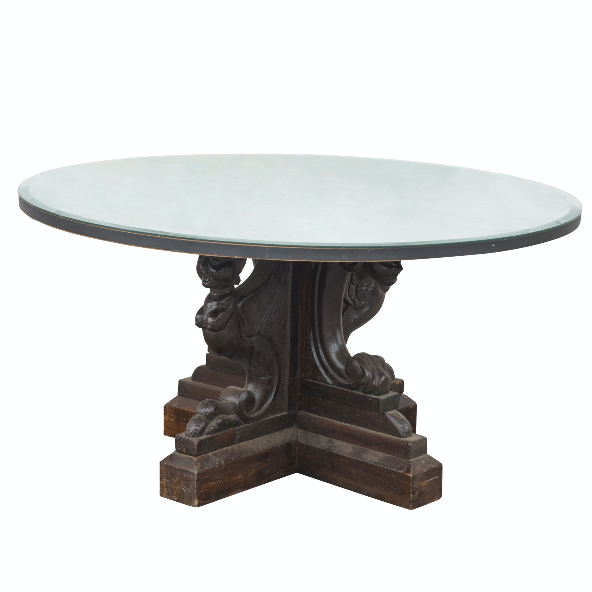 Mirror Top Figural Base Coffee Table