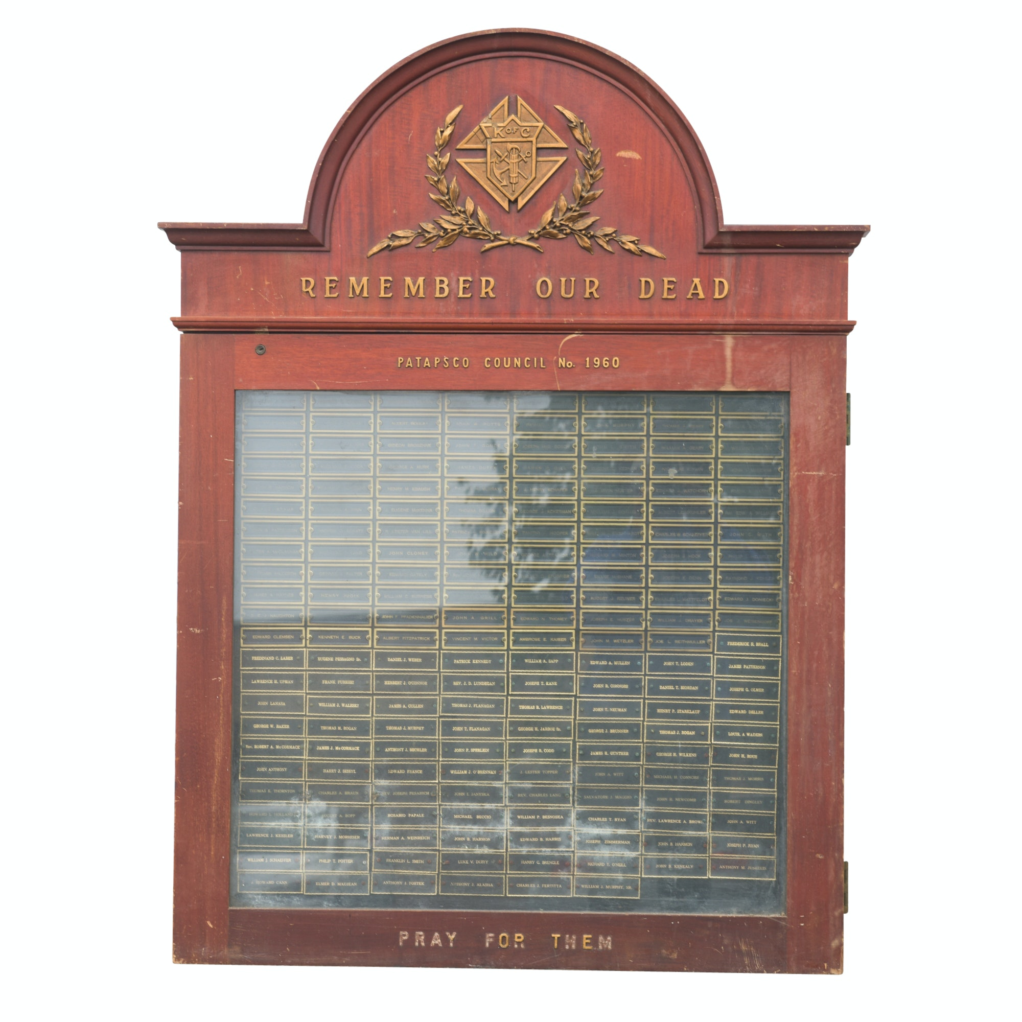 "Knights of Columbus ""Remember Our Dead"" Name Plaque Display Cabinet"