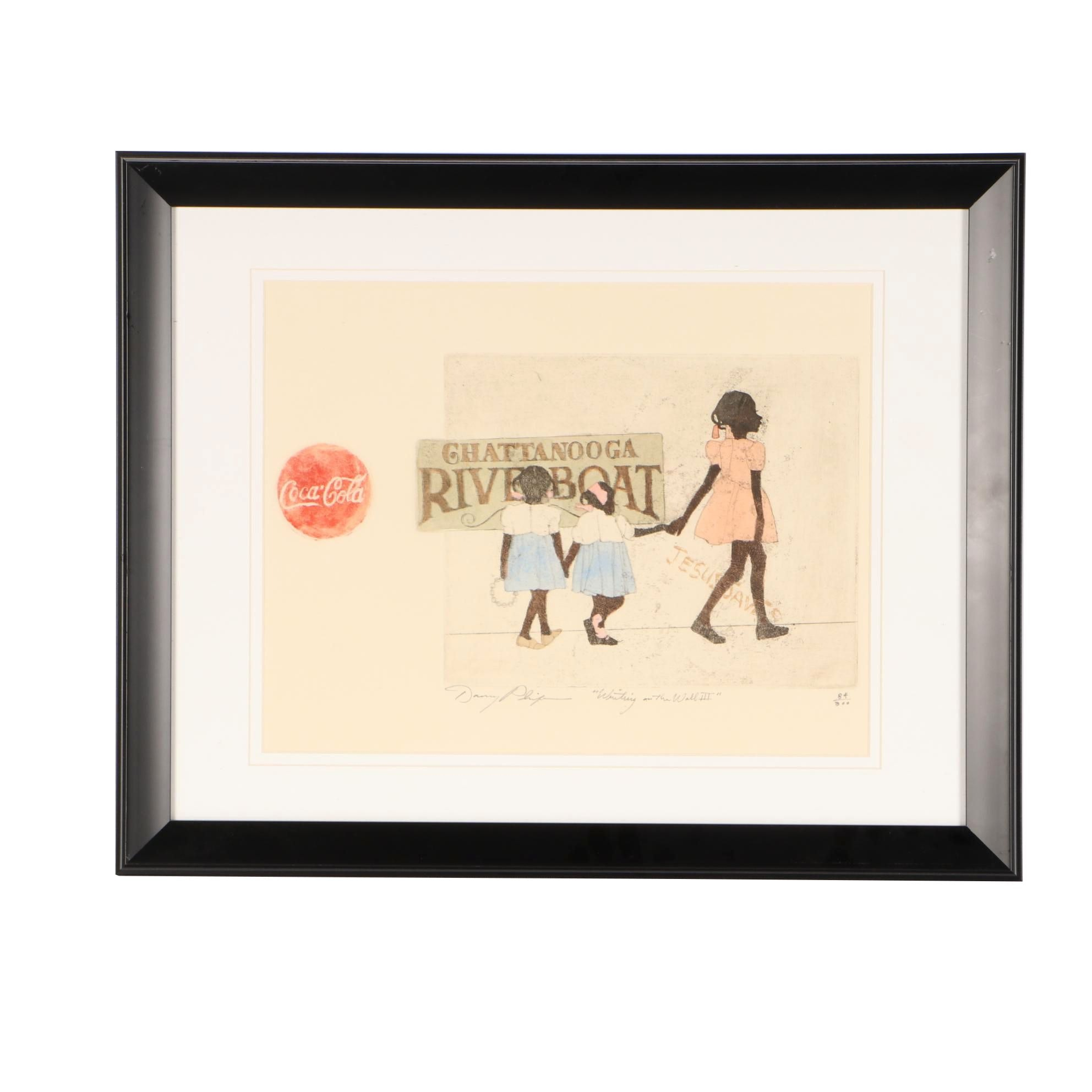 """Danny Phifer Limited Edition Hand-colored Aquatint Etching """"Writing on the Wall"""