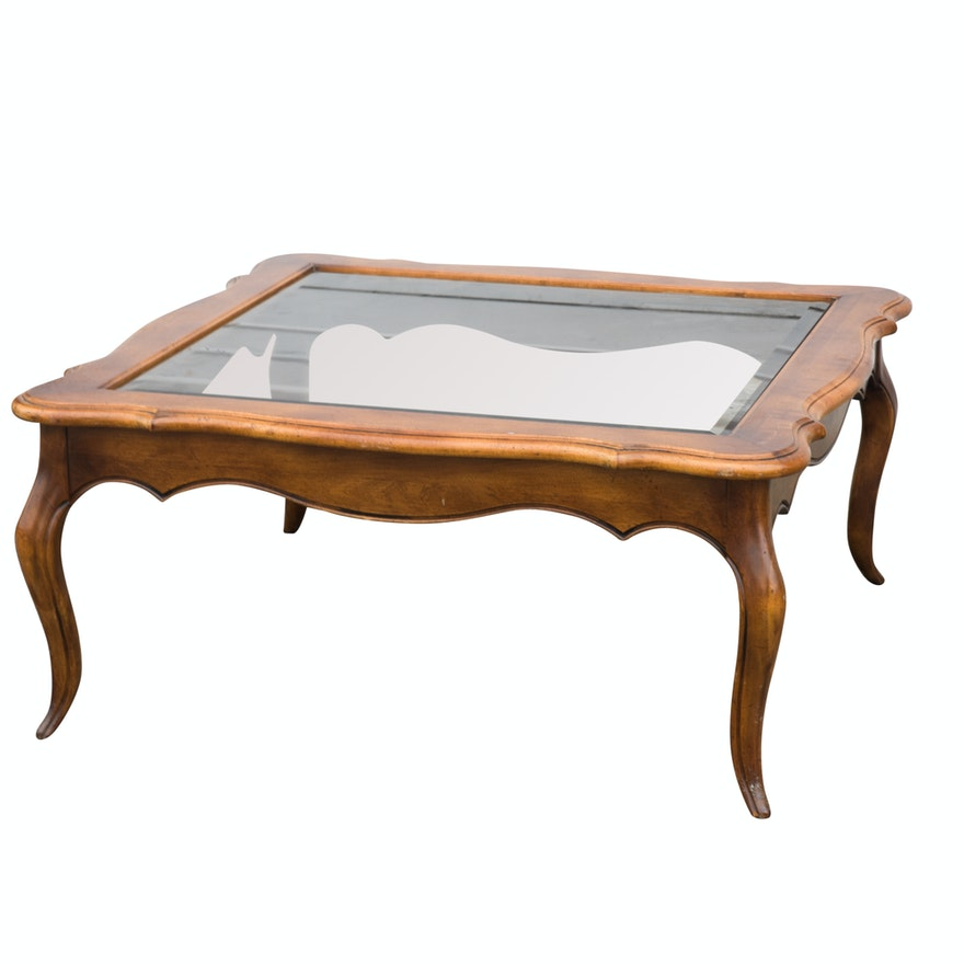 Ethan Allen Coffee Table Glass Top: French Provincial Style Glass Top Coffee Table By Ethan
