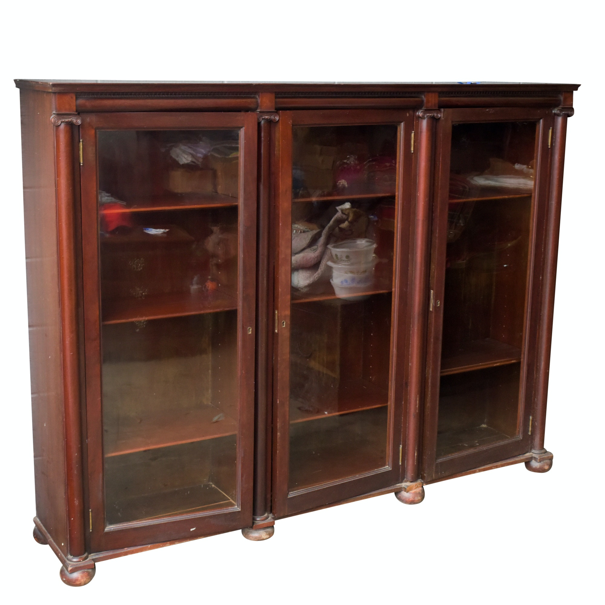 Vintage Neoclassical Style Mahogany Bookcase