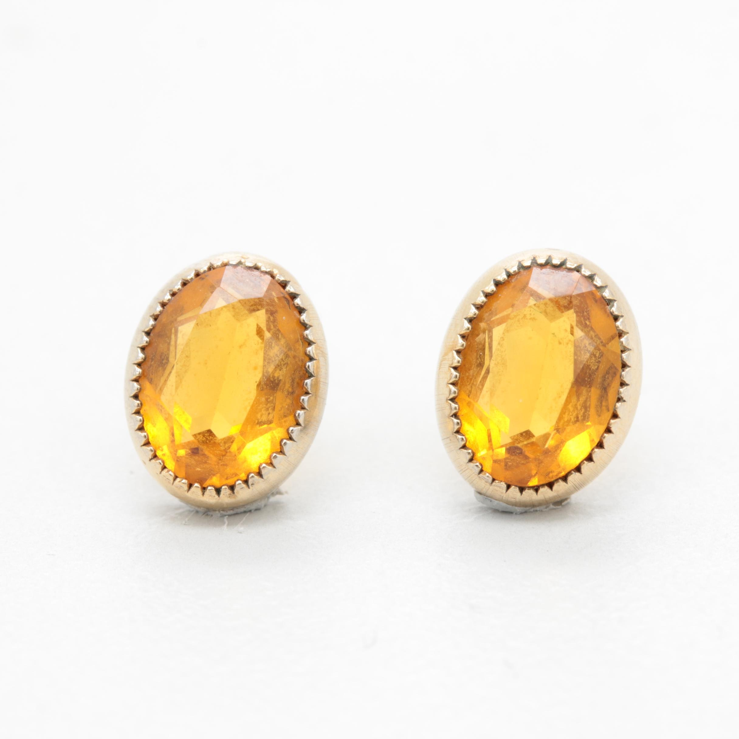 10K and 14K Yellow Gold Citrine Earrings