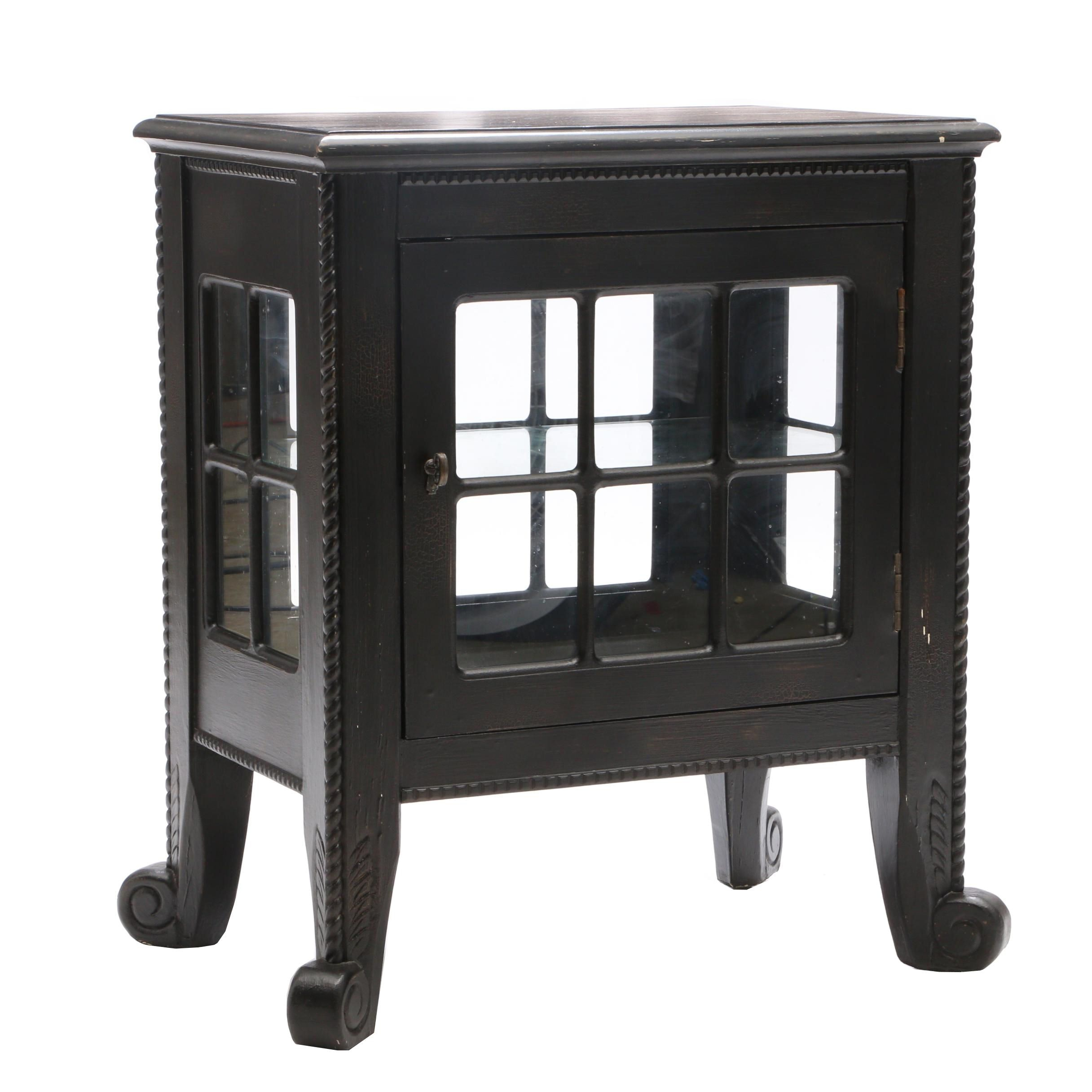 Ebonized Oak and Glass Panel Display Cabinet