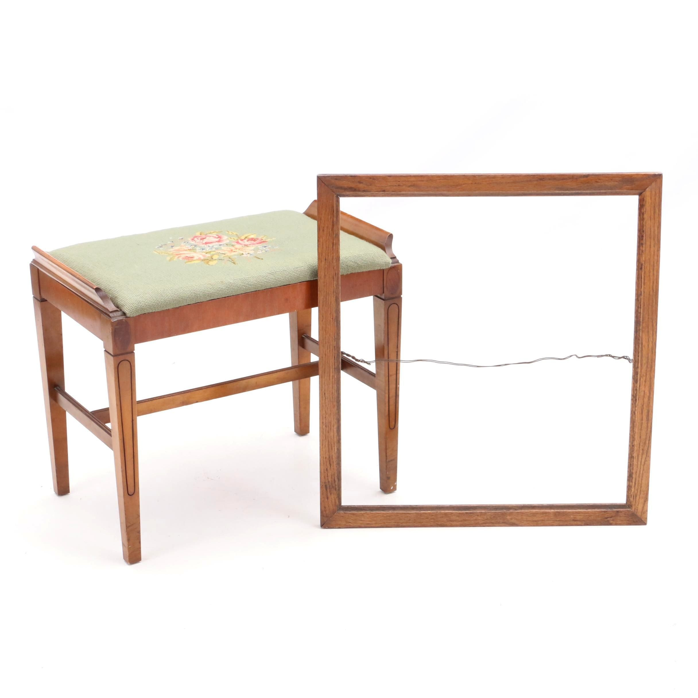 Late Victorian Walnut Stool and Oak Picture Frame