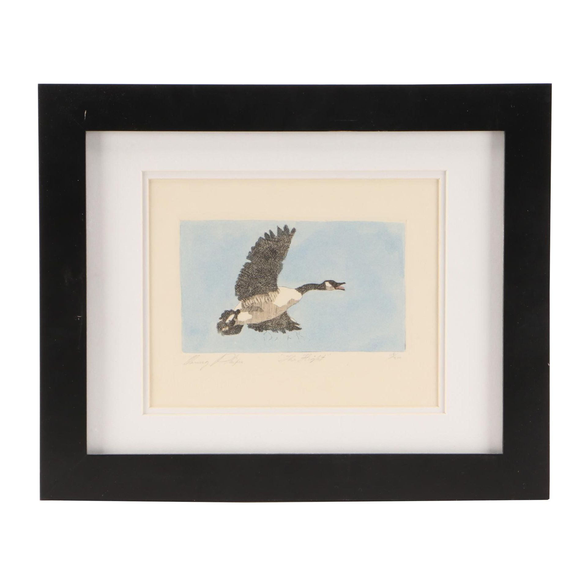 """Danny Phifer Limited Edition Hand-Colored Etching """"The Flight"""""""