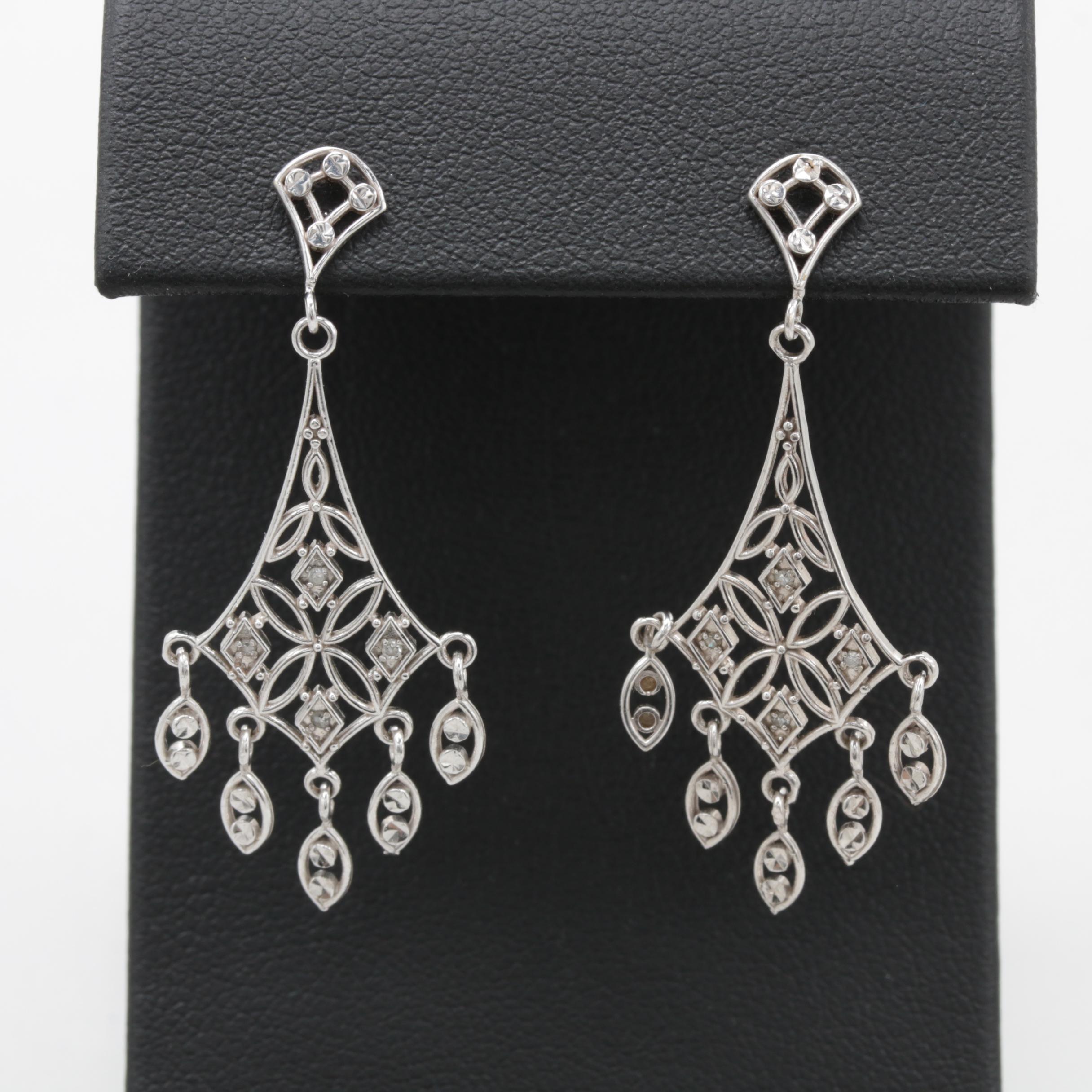 Michael Anthony 10K White Gold Diamond Earrings