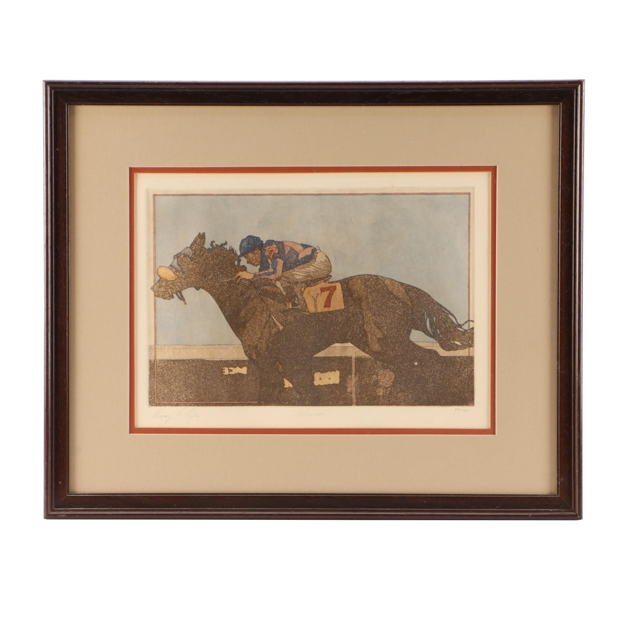 """Danny Phifer Limited Edition Hand-colored Aquatint Etching """"Winner"""""""