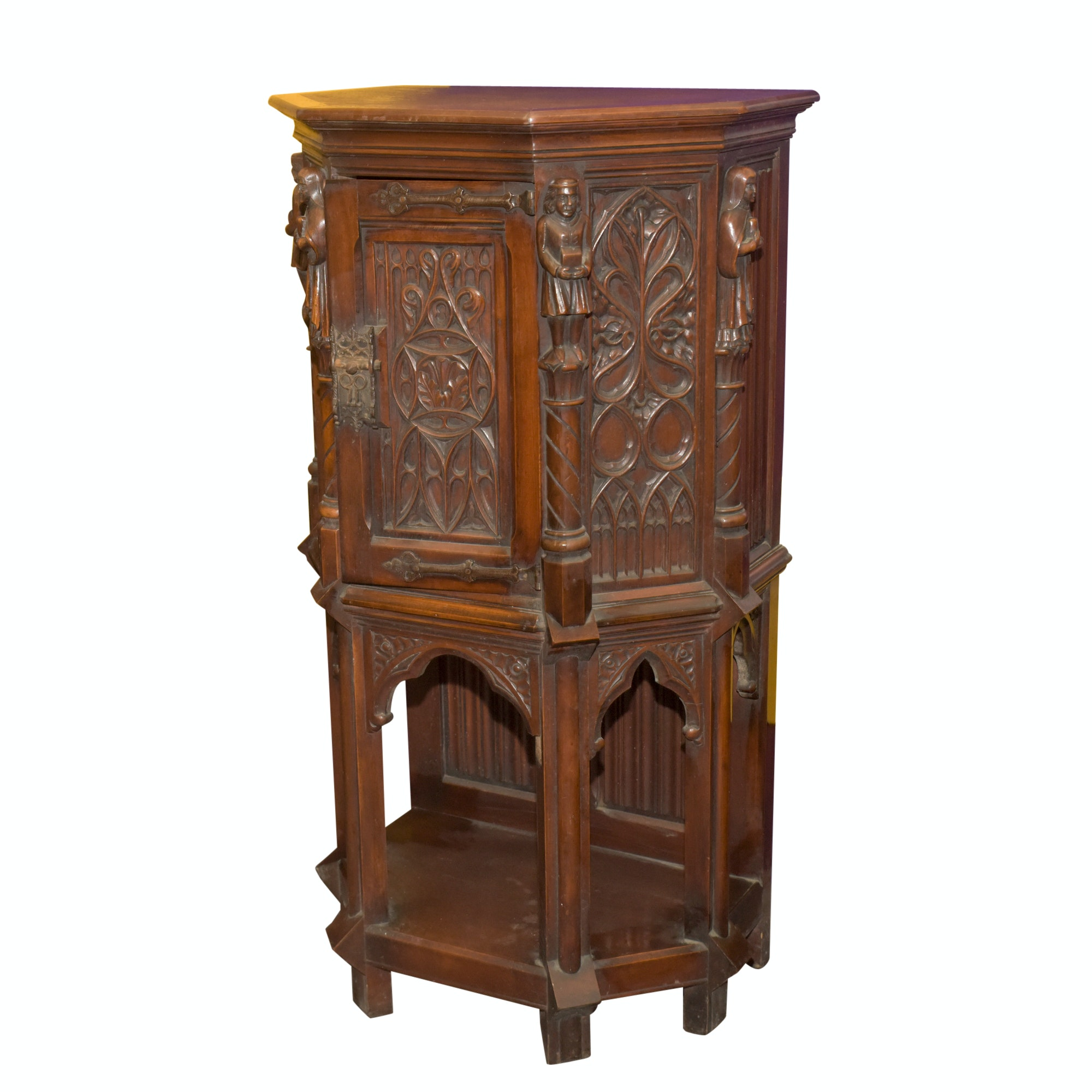 Vintage Renaissance Revival Style Carved Wood Cabinet