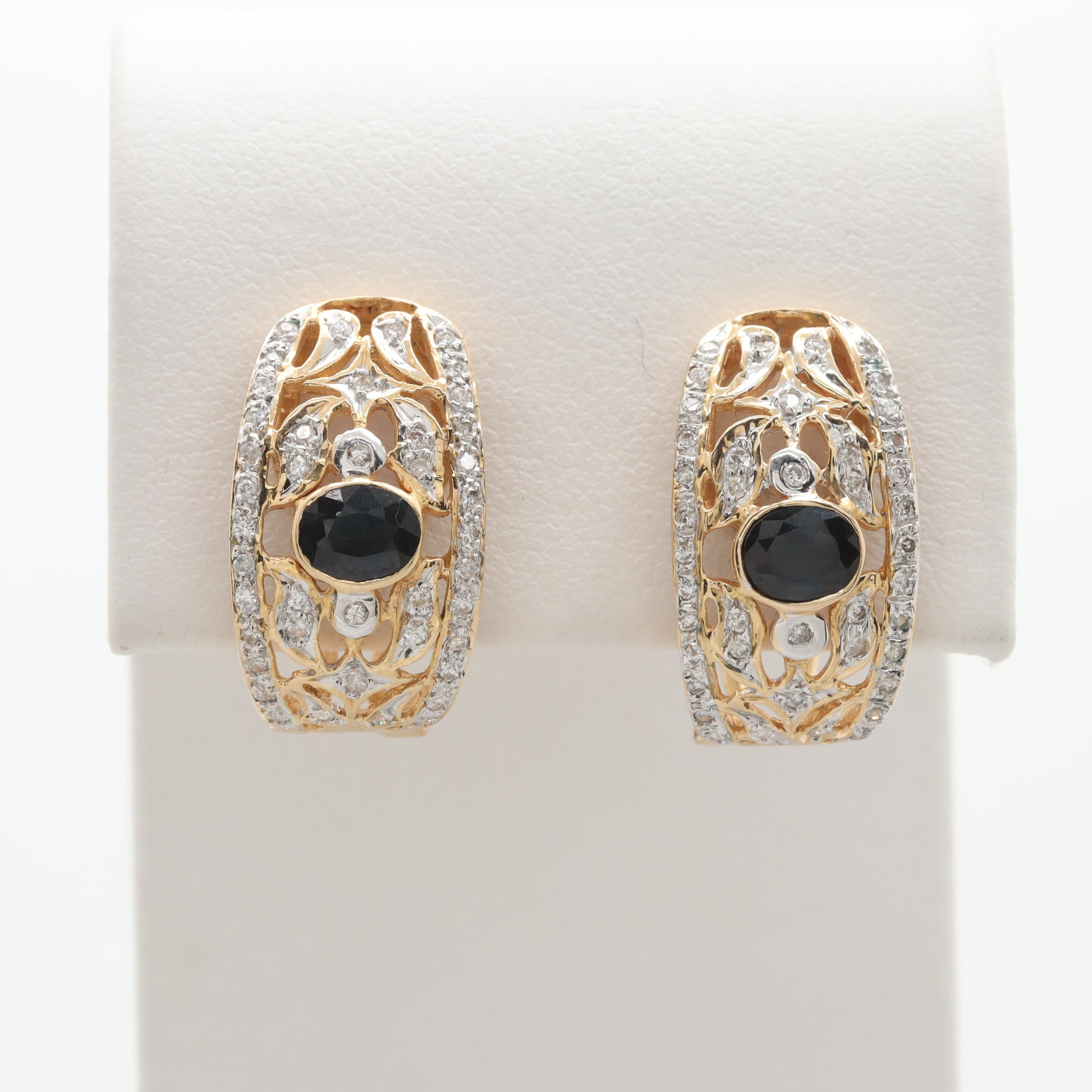 18K Yellow Gold Blue Sapphire and Diamond Omega Back Earrings