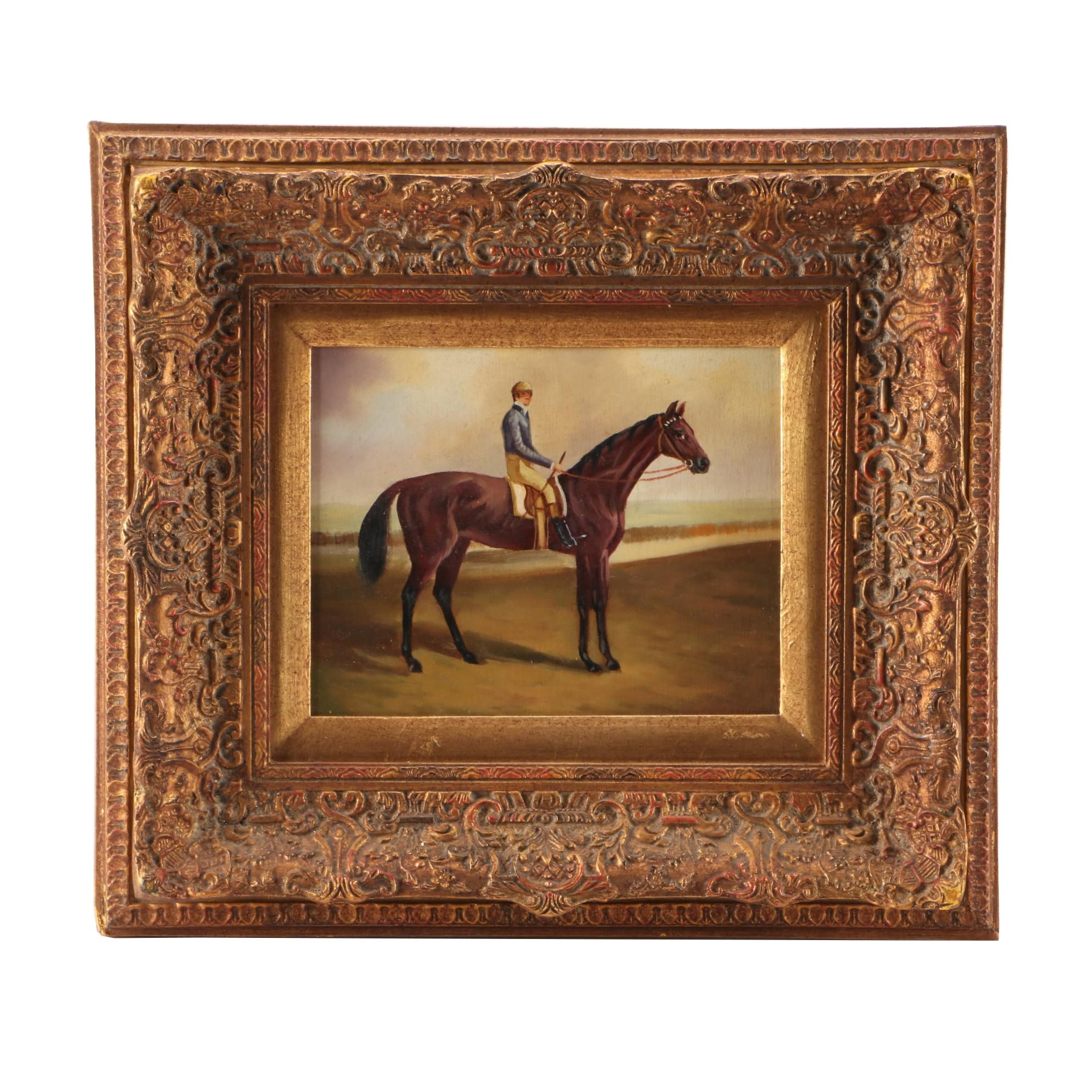 Mid to Late 20th-Century Equine Portrait Oil Painting