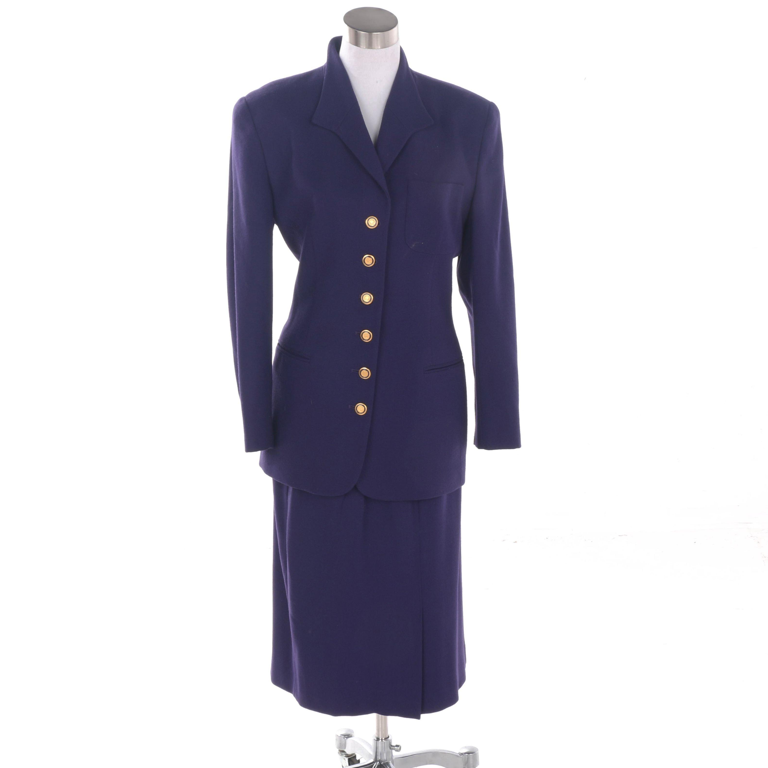 Vintage Christian Dior Purple Wool Skirt Suit