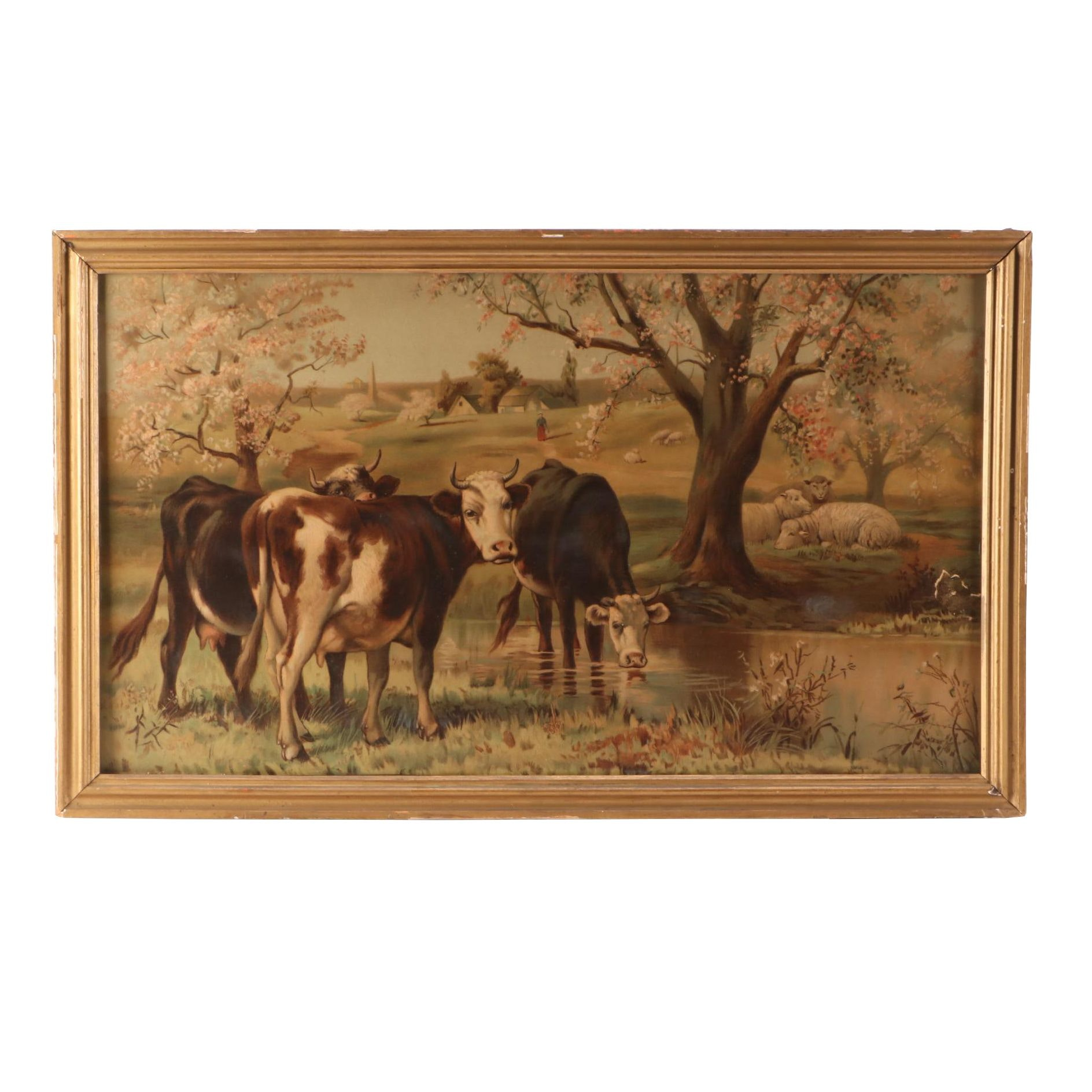 Antique Chromolithograph of a Pastoral Landscape