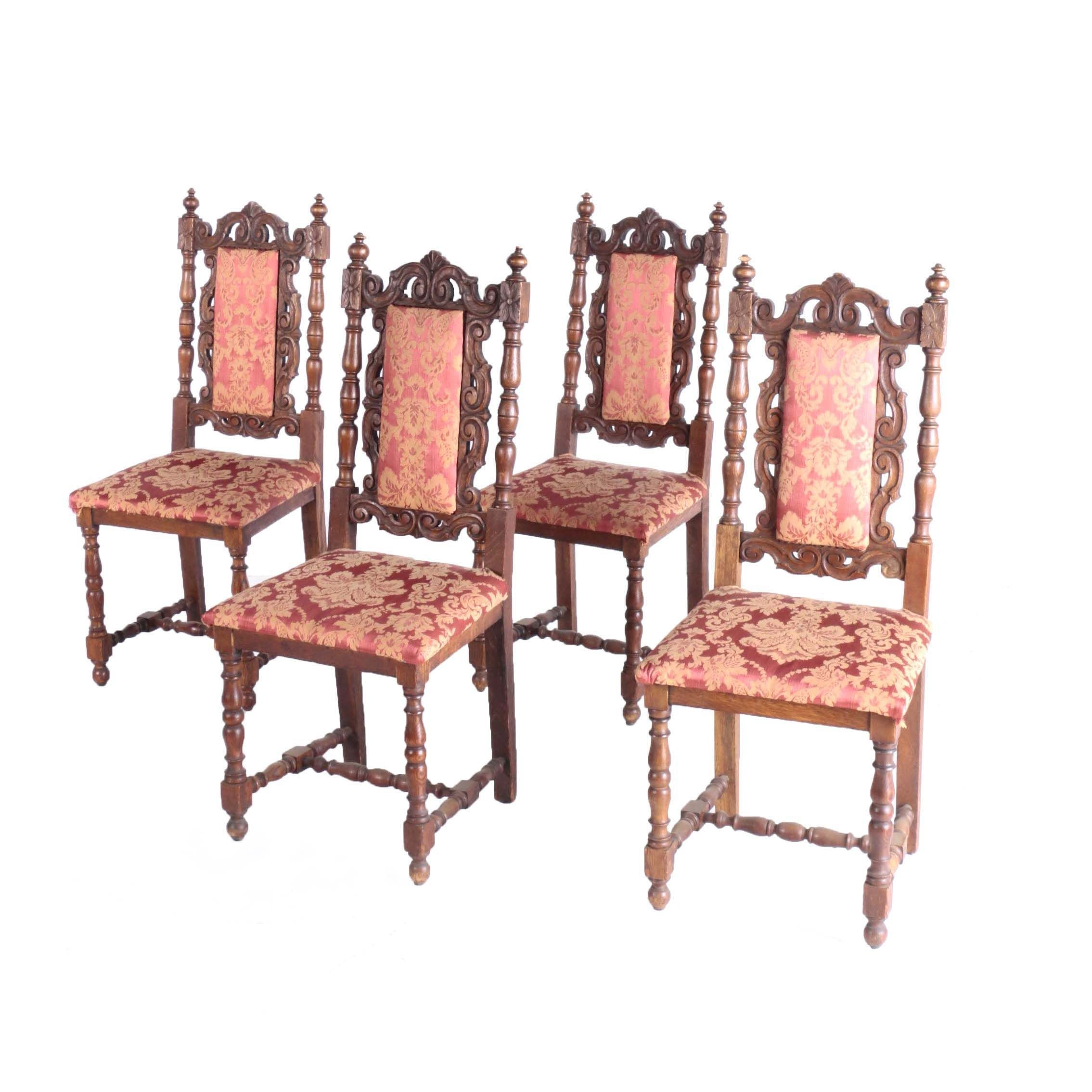 Set of Four French Oak Side Chairs, Late 19th Century