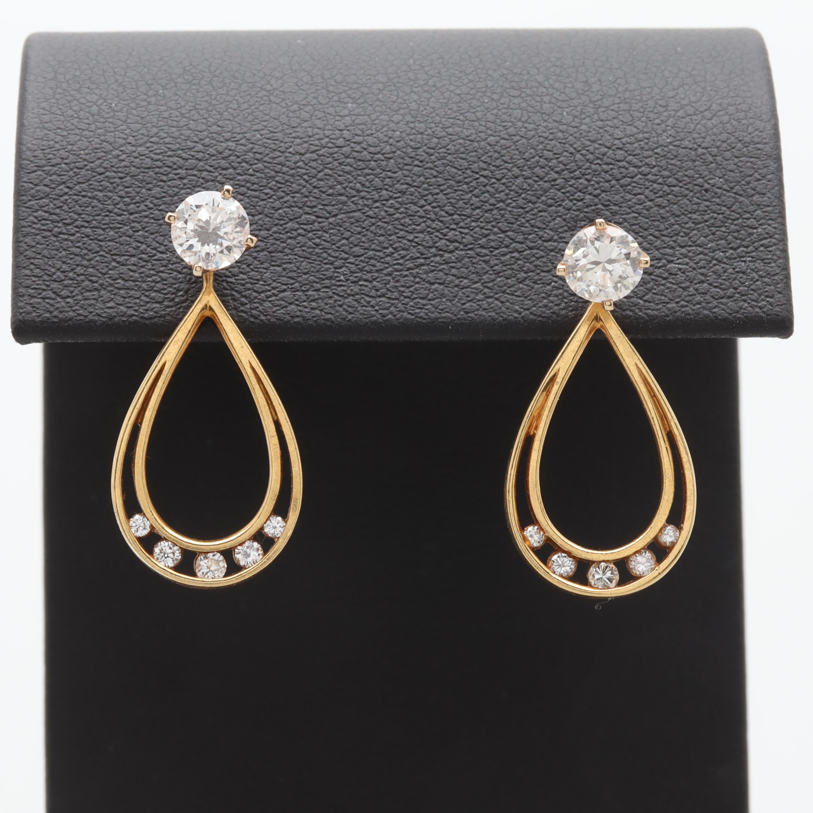 14K and 18K Yellow Gold 1.14 CTW Diamond Earrings and Jackets