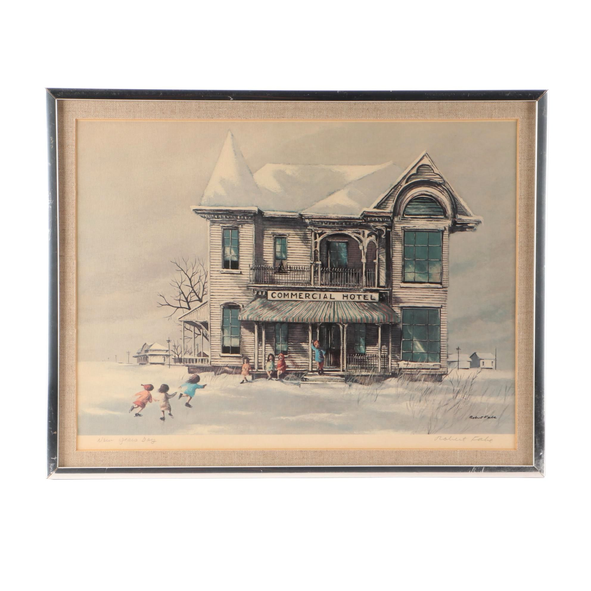 """Offset Lithograph After Robert Fabe """"New Years Day"""""""