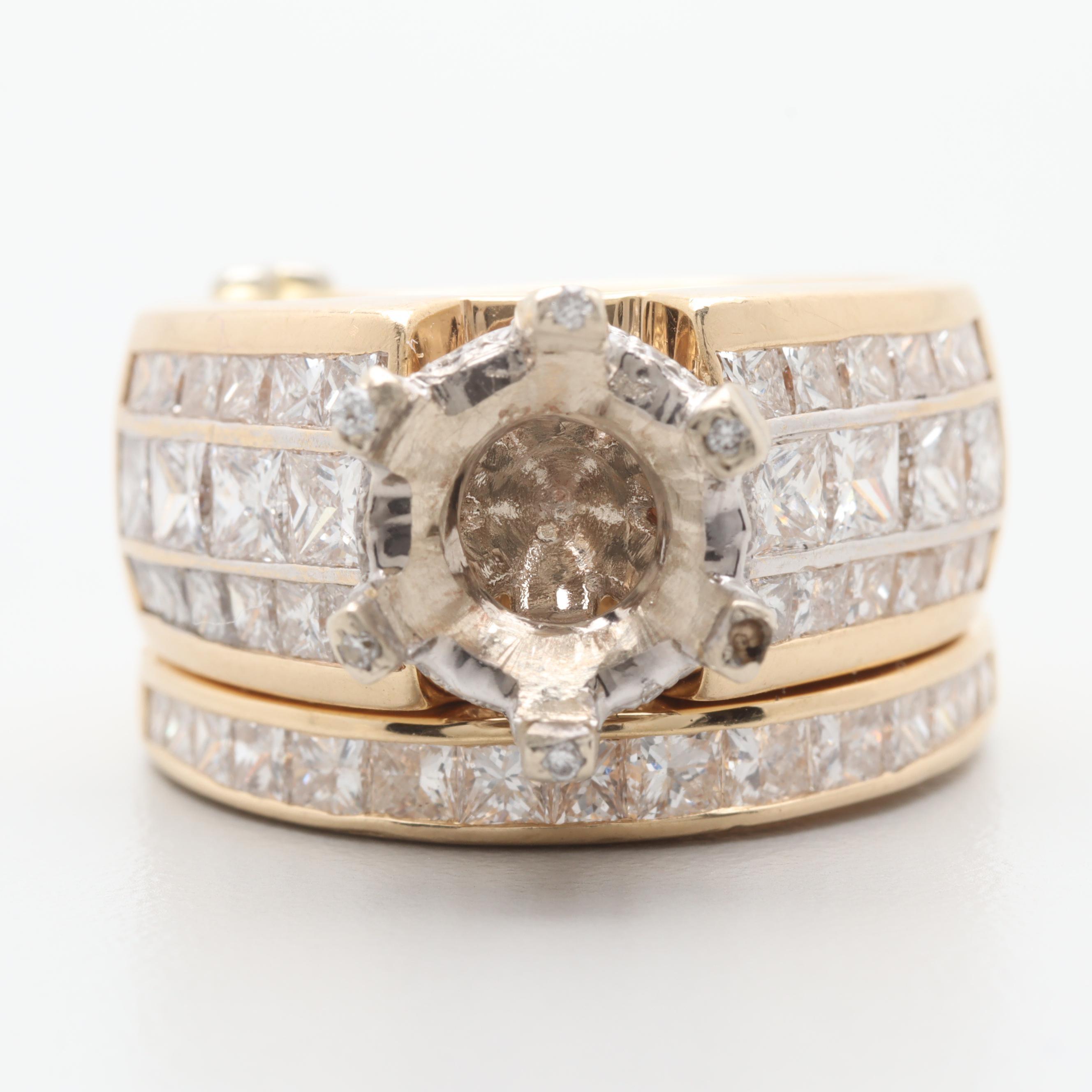 14K Yellow Gold 3.37 CTW Diamond Bridal Wedding Ring Mount Set
