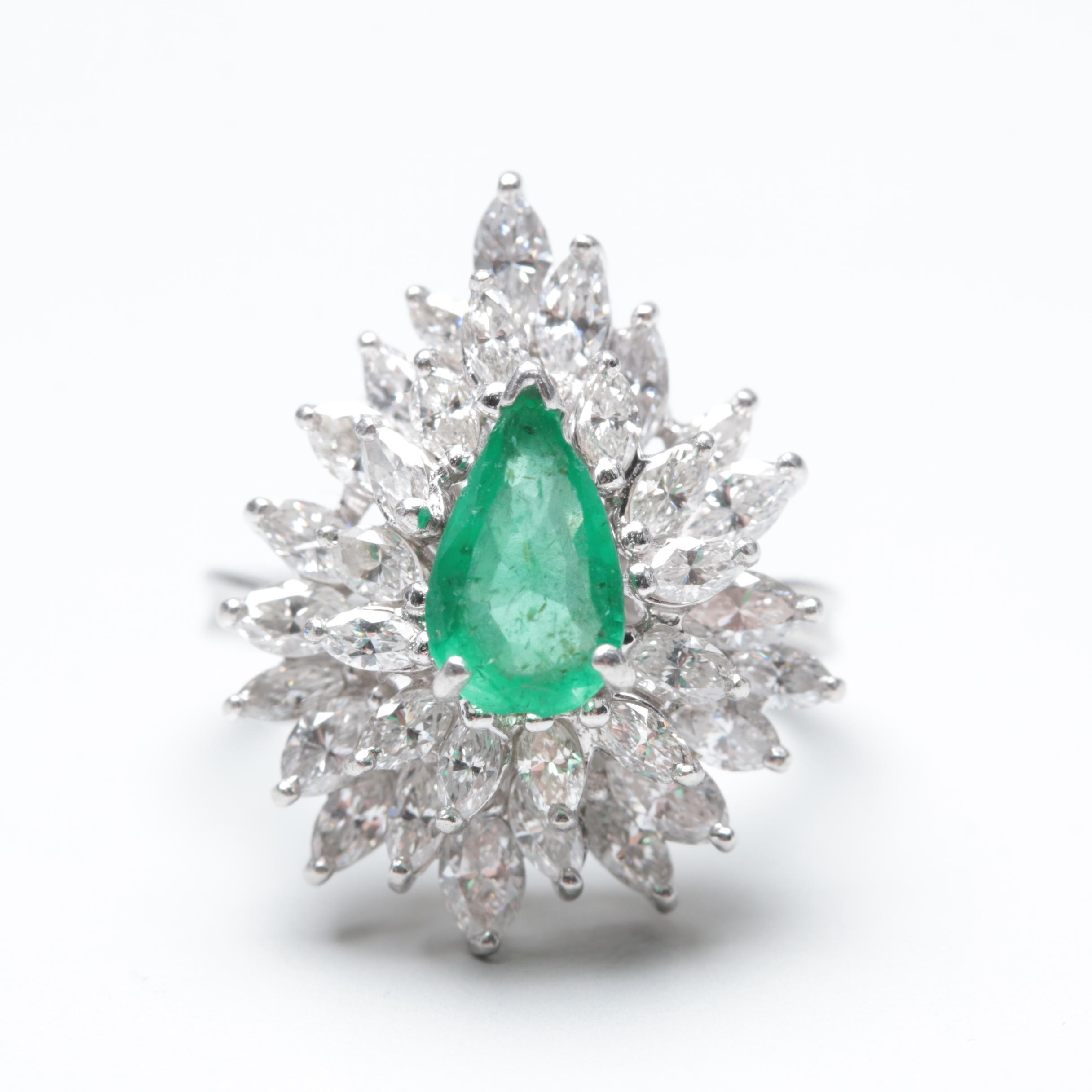 Platinum Emerald and 2.50 CTW Diamond Ring