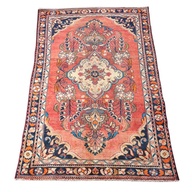 Vintage Hand-Knotted Persian Mahal Wool Area Rug