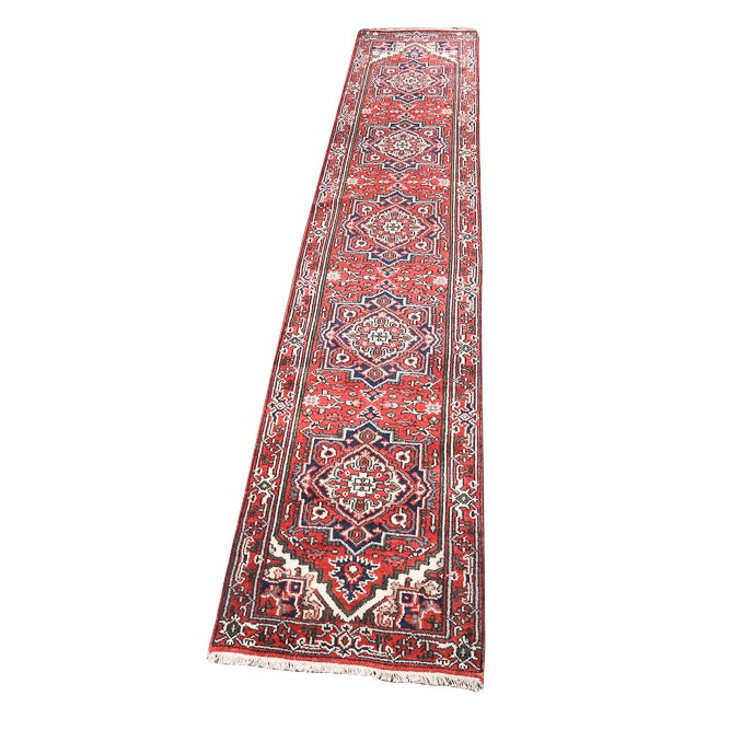 Hand-Knotted Indo-Persian Bakhshayesh Heriz Wool Carpet Runner