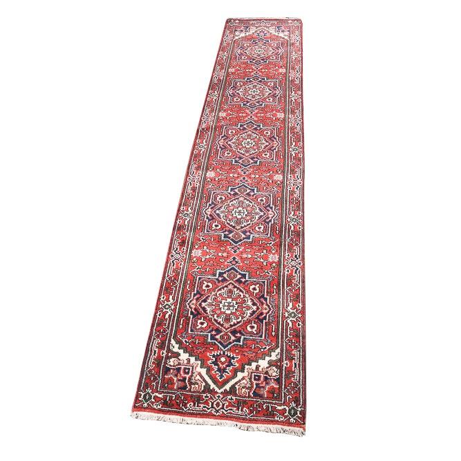 Hand-Knotted Indo-Persian Bakhshayesh Heriz Wool Carpet Runner