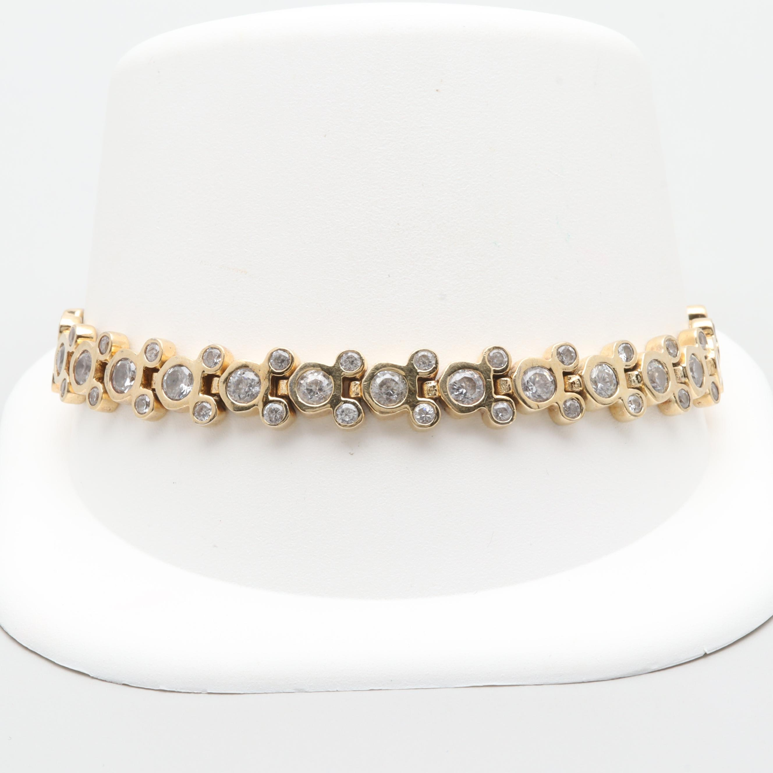 Gold Wash on Sterling Silver Cubic Zirconia Mickey Mouse Bracelet