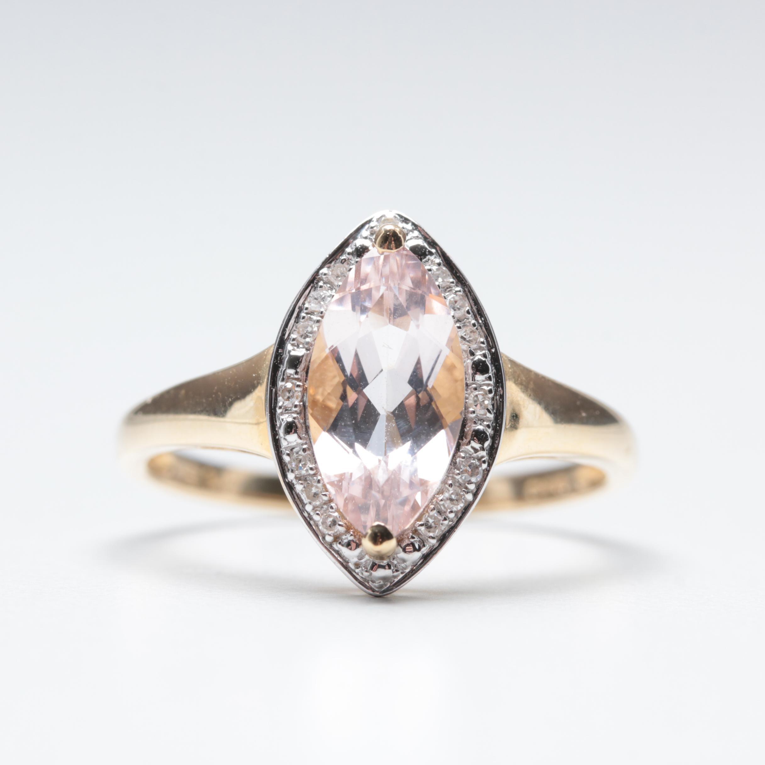 14K Yellow Gold Morganite and Diamond Ring