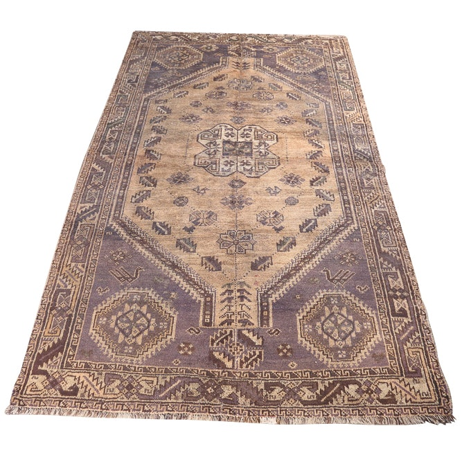 Vintage Hand-Knotted Persian Qashqai Wool Area Rug