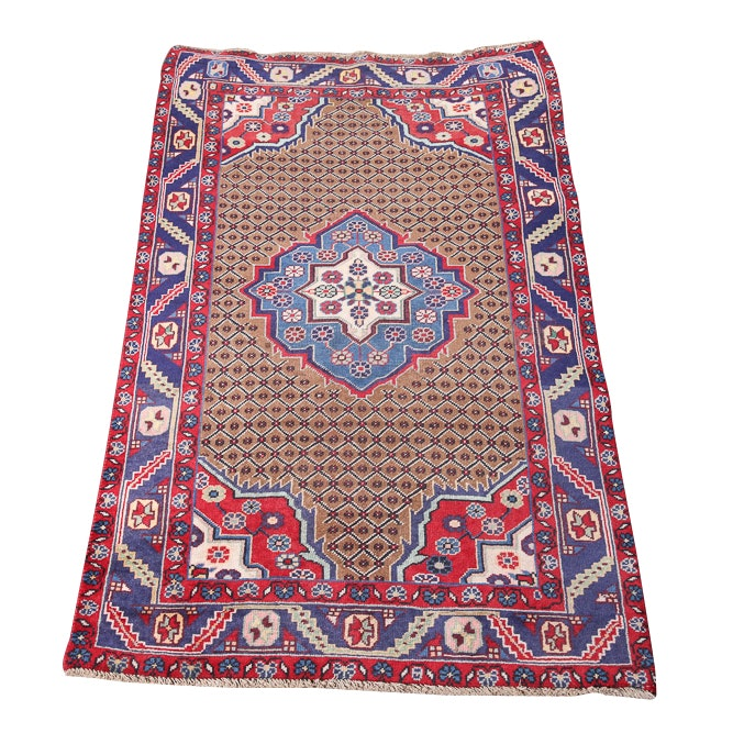 Vintage Hand-Knotted Persian Senneh Bijar Wool Accent Rug