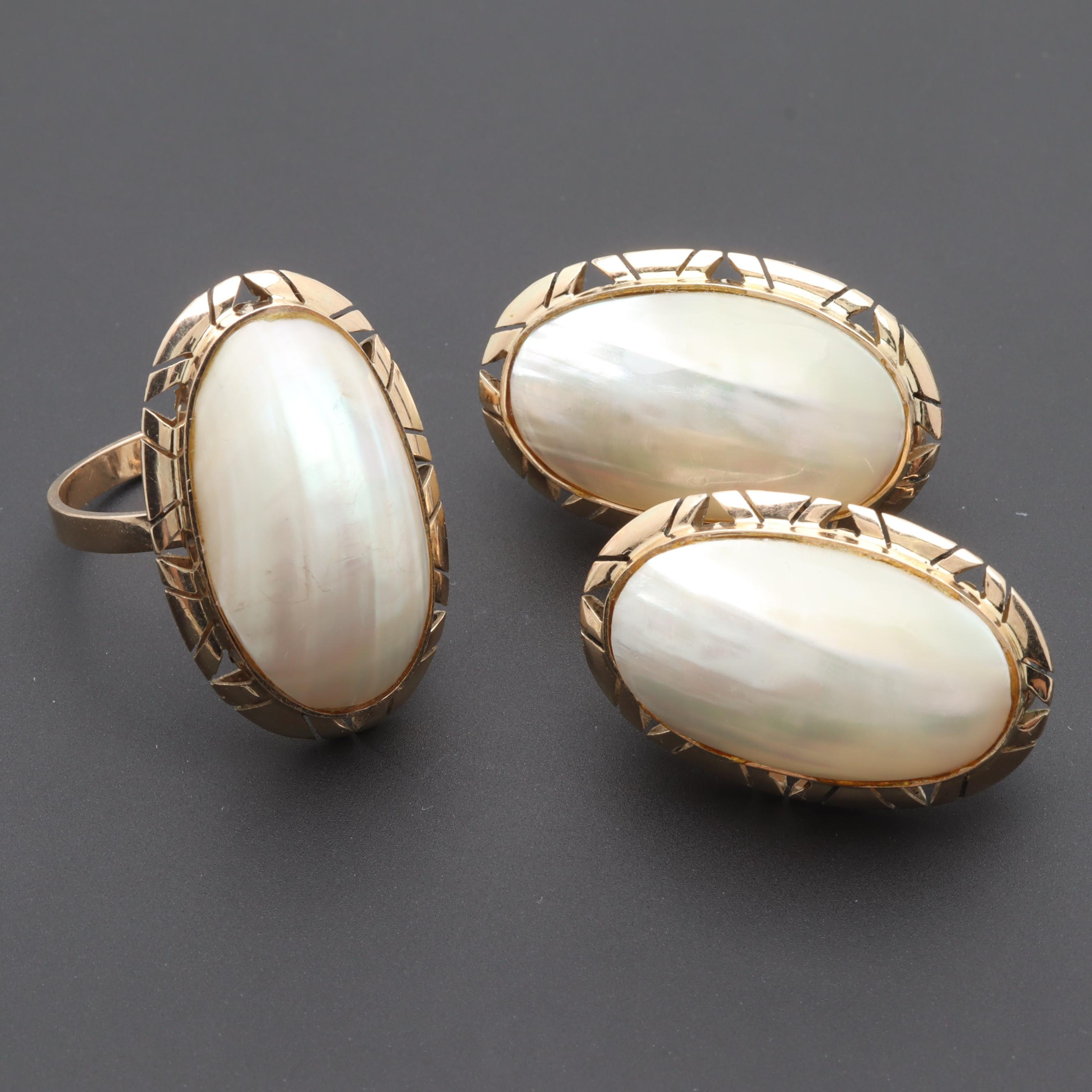 10K Yellow Gold Cultured Pearl Ring and Earring Selection