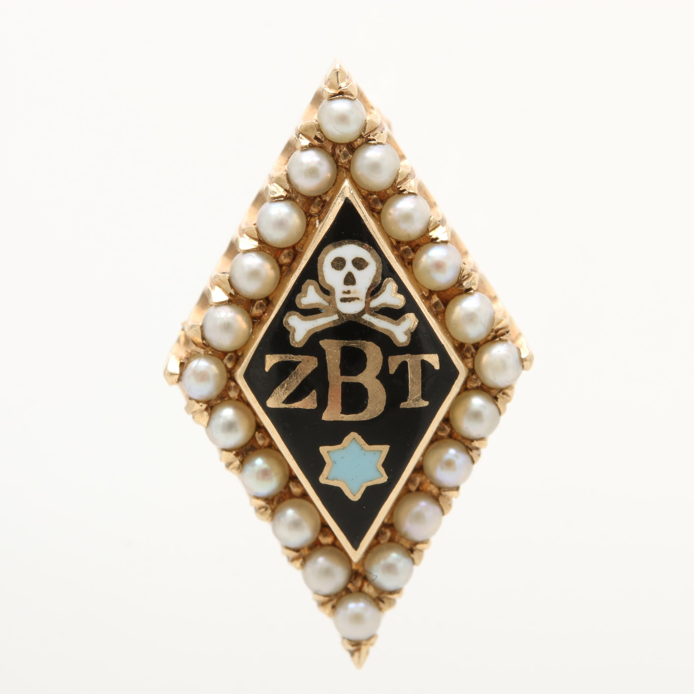 14K Yellow Gold Seed Pearl and Enamel Zeta Beta Tau Brooch