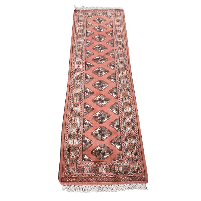 Vintage Hand Knotted Persian Turkoman Wool Carpet Runner