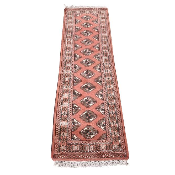 Vintage Hand Knotted Persian Turkoman Wool Carpet Runner