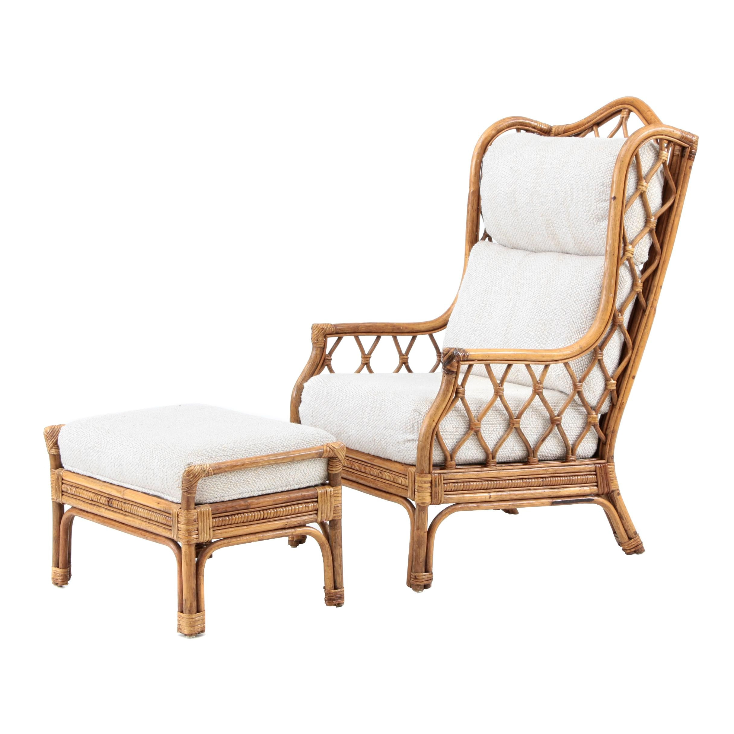 Rattan Wing Chair and Ottoman