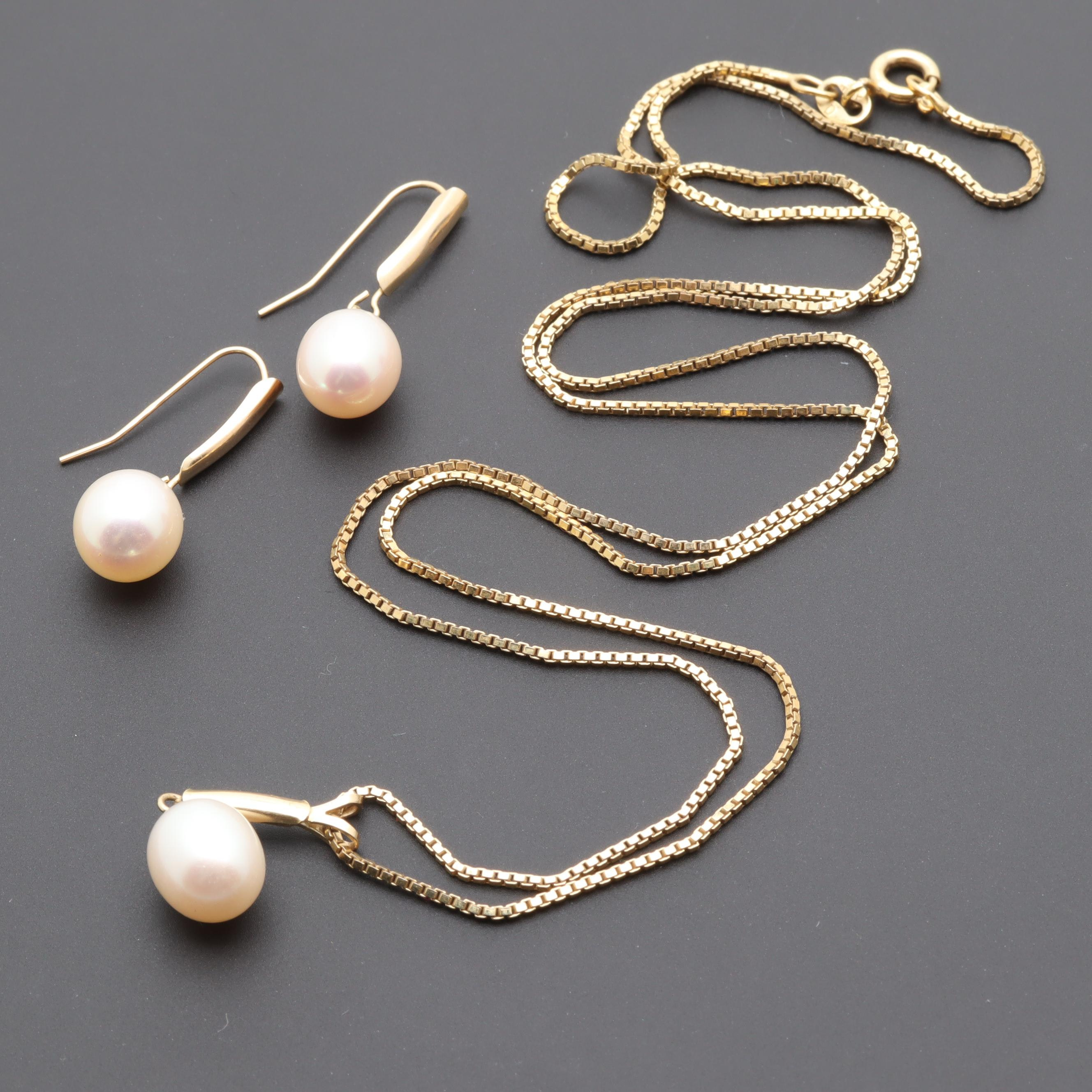 14K Gold Cultured Pearl Earrings and Pendant With Sterling Silver Chain
