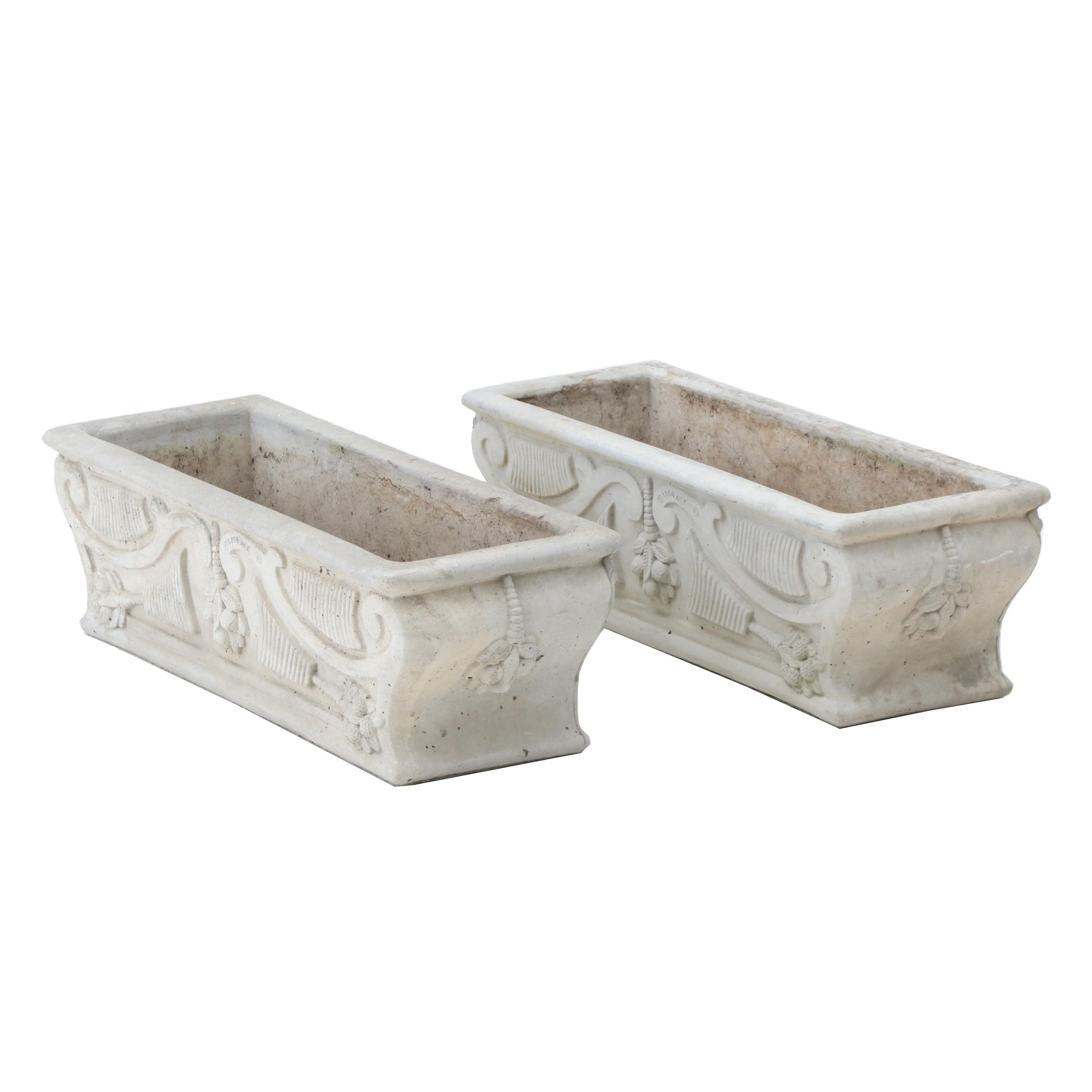 Pair of Concrete Grecian Style Rectangle Planters