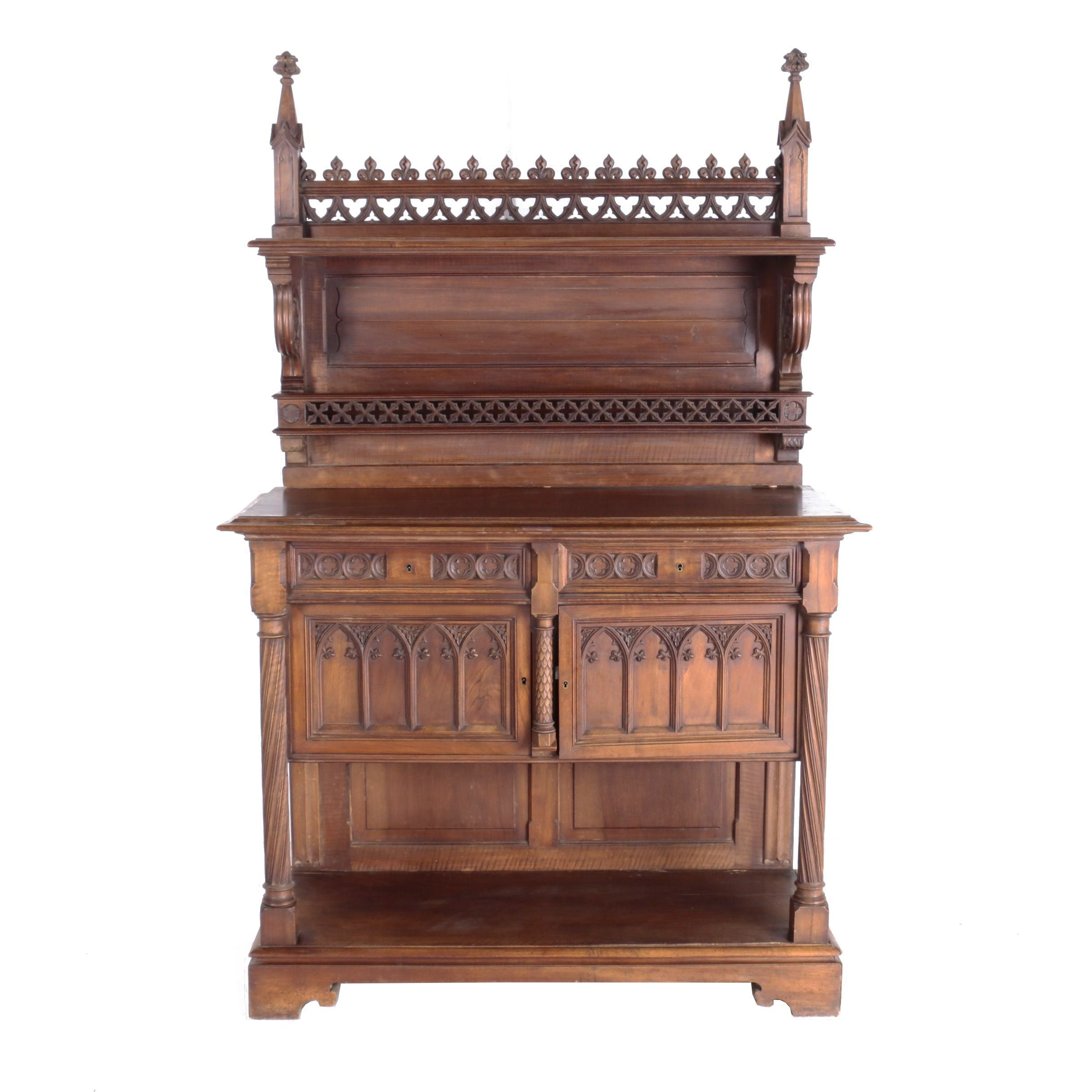 French Gothic Revival Walnut Server, Late 19th Century