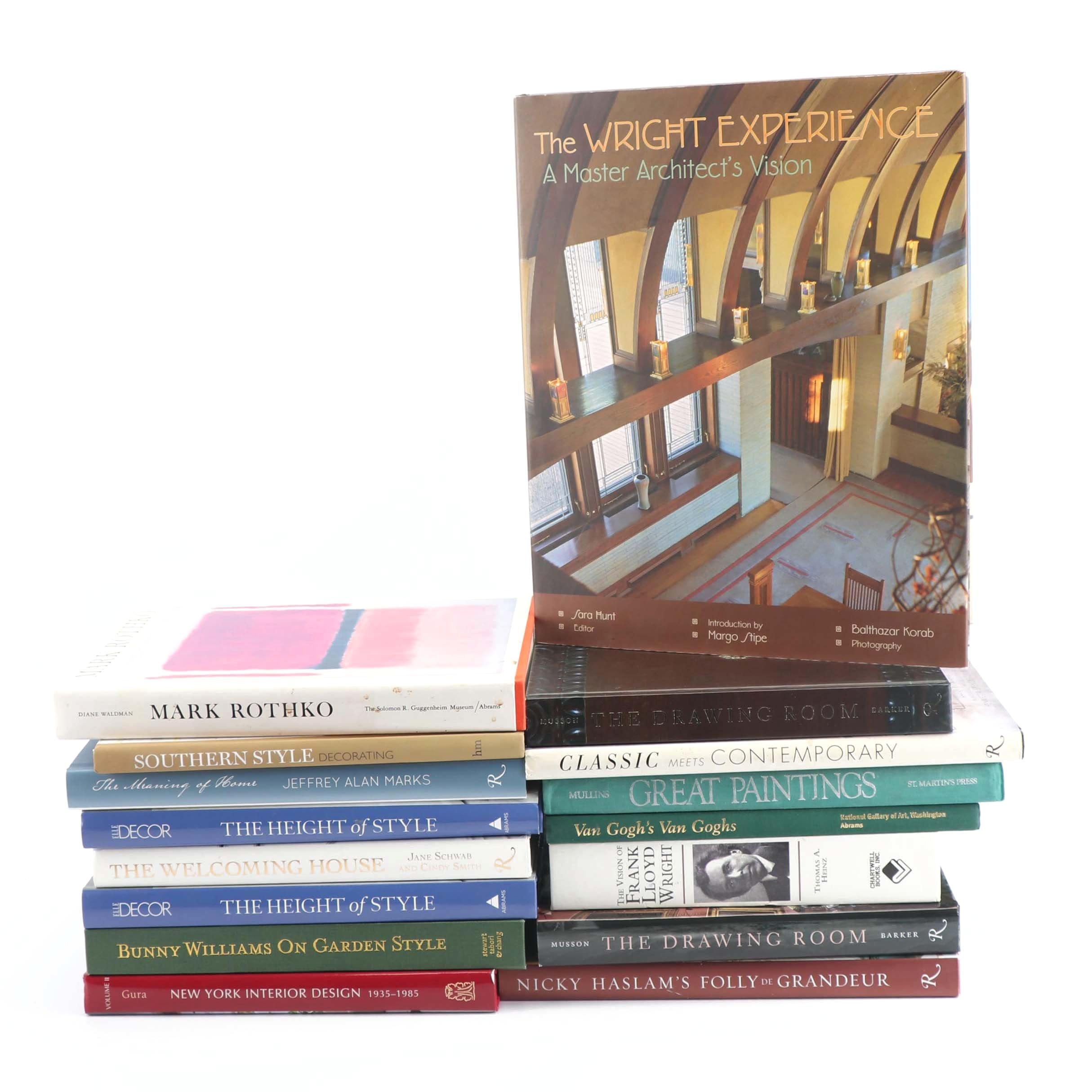 Home Decor, Art and Design Books including Frank Loyd Wright