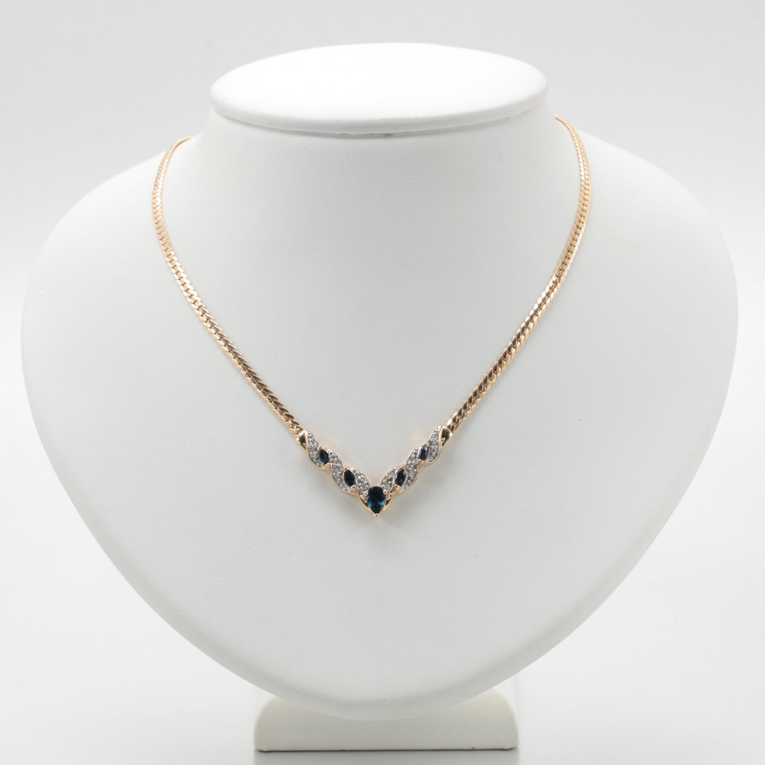 14K Yellow Gold Blue Sapphire and Diamond Necklace