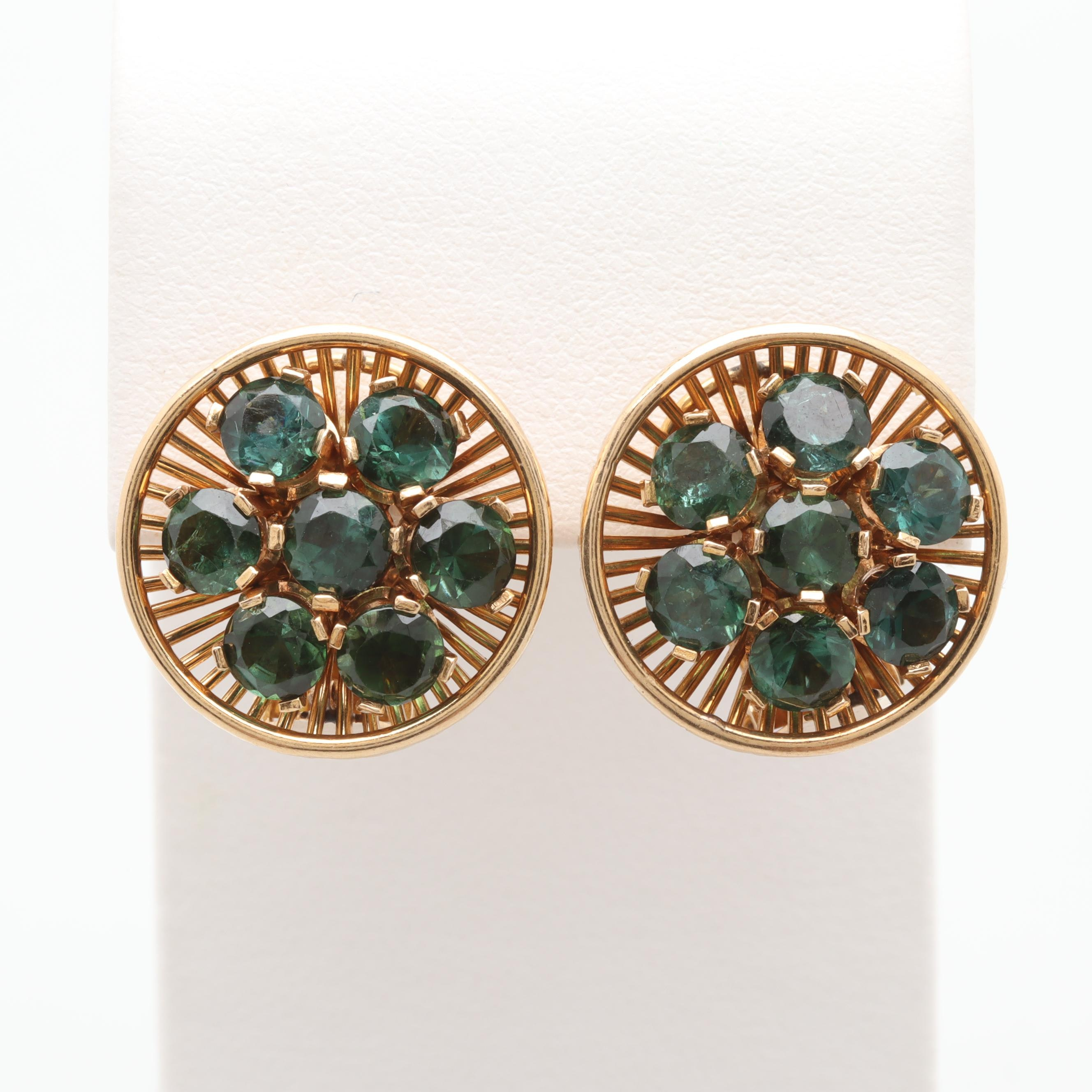 Vintage 18K Yellow Gold Green Tourmaline Floral Motif Earrings