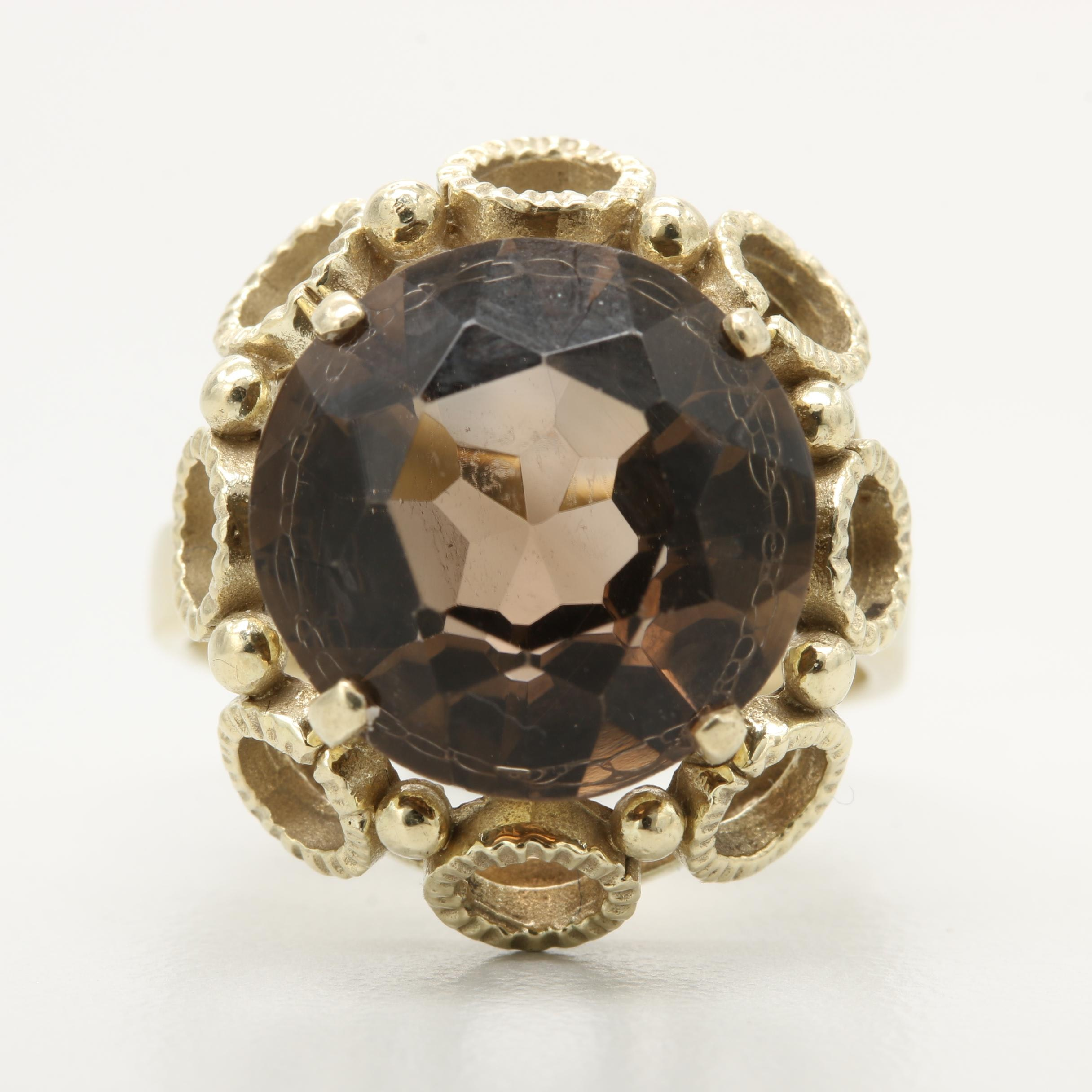 8K Yellow Gold Smoky Quartz Ring