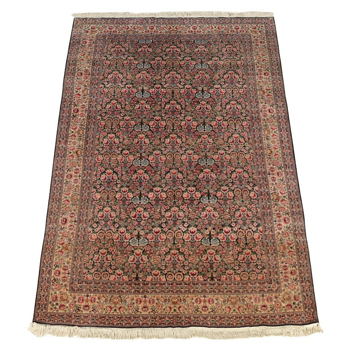Finely Hand-Knotted Persian Silk Area Rug