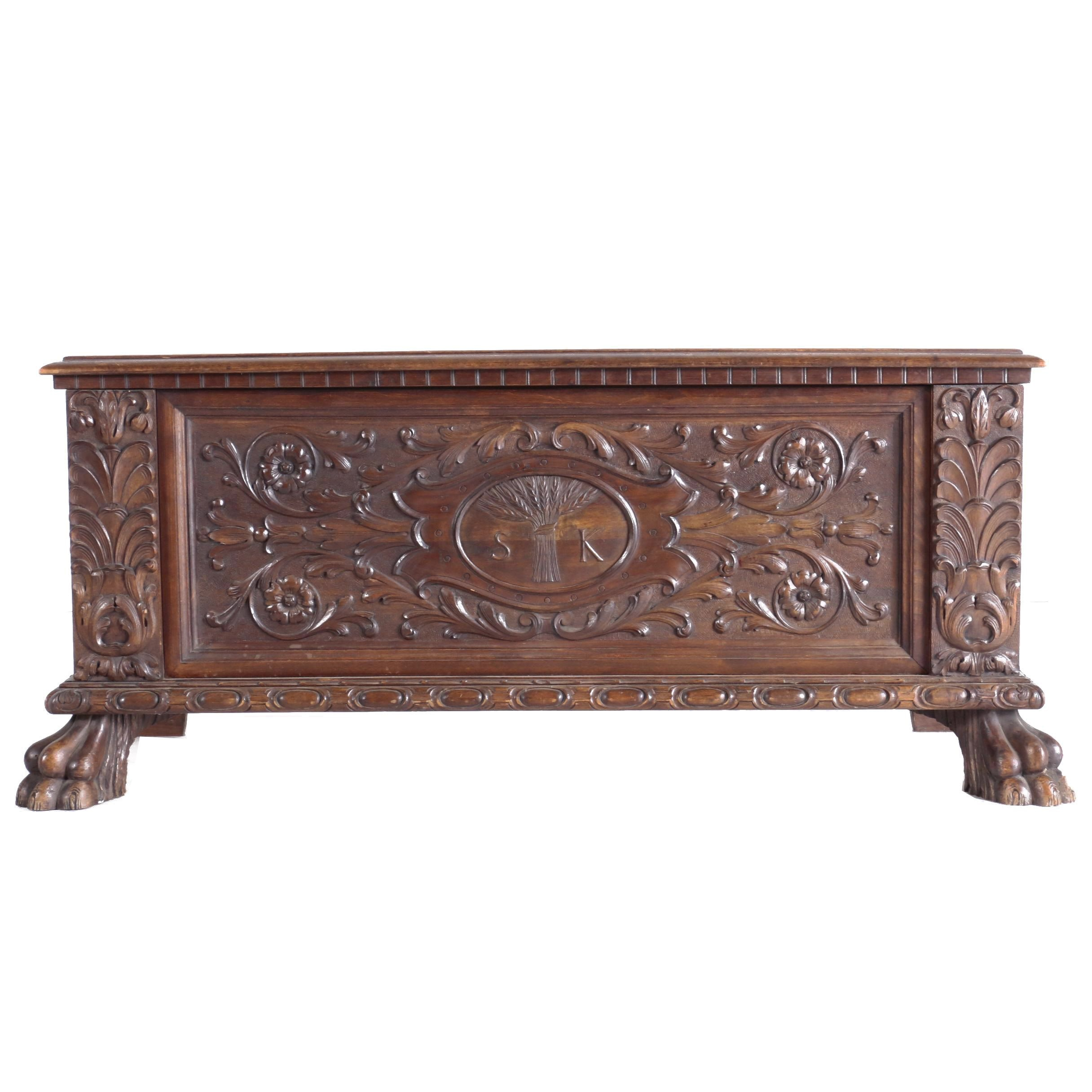 Renaissance Revival Walnut Marriage Chest, Late 19th/Early 20th Century