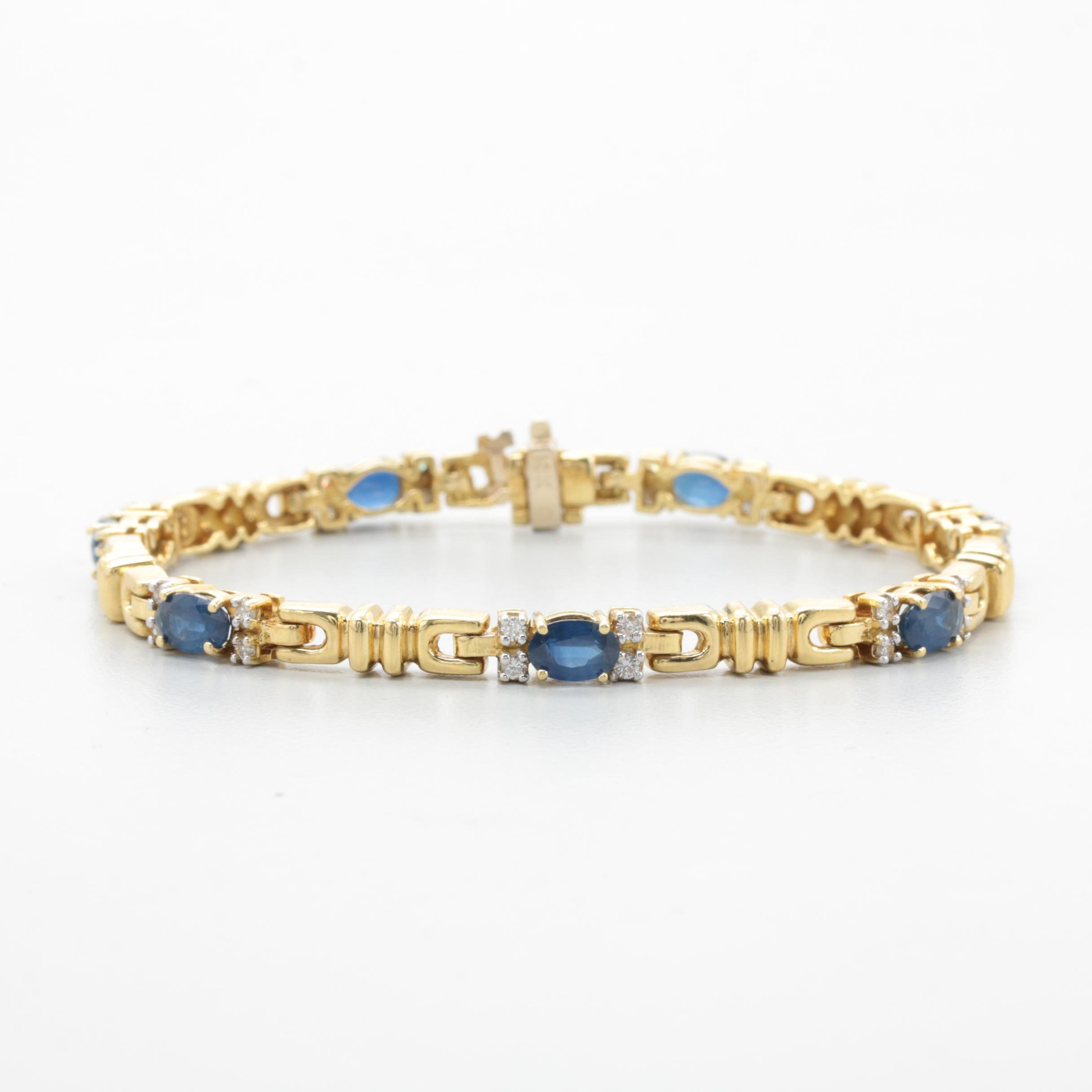 18K Yellow Gold 3.50 CTW Blue Sapphire and Diamond Bracelet