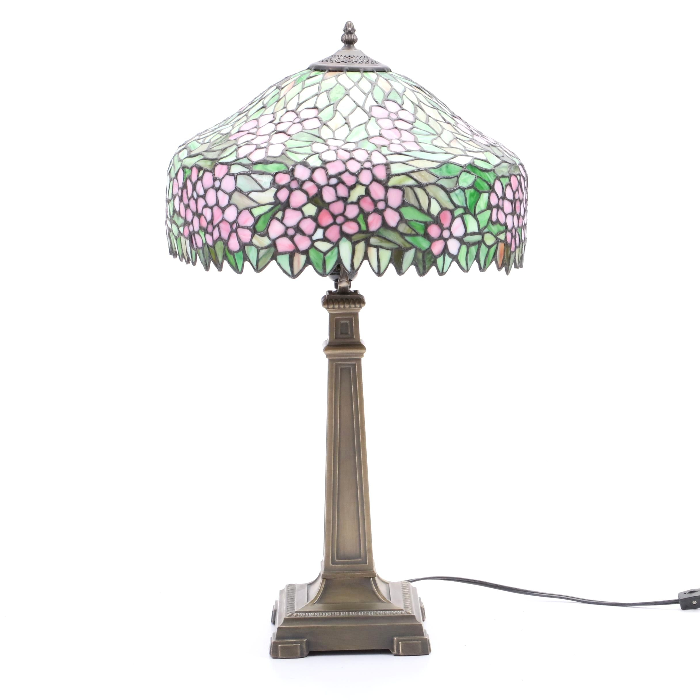 Stain Glass Table Lamp with Wisteria Motif