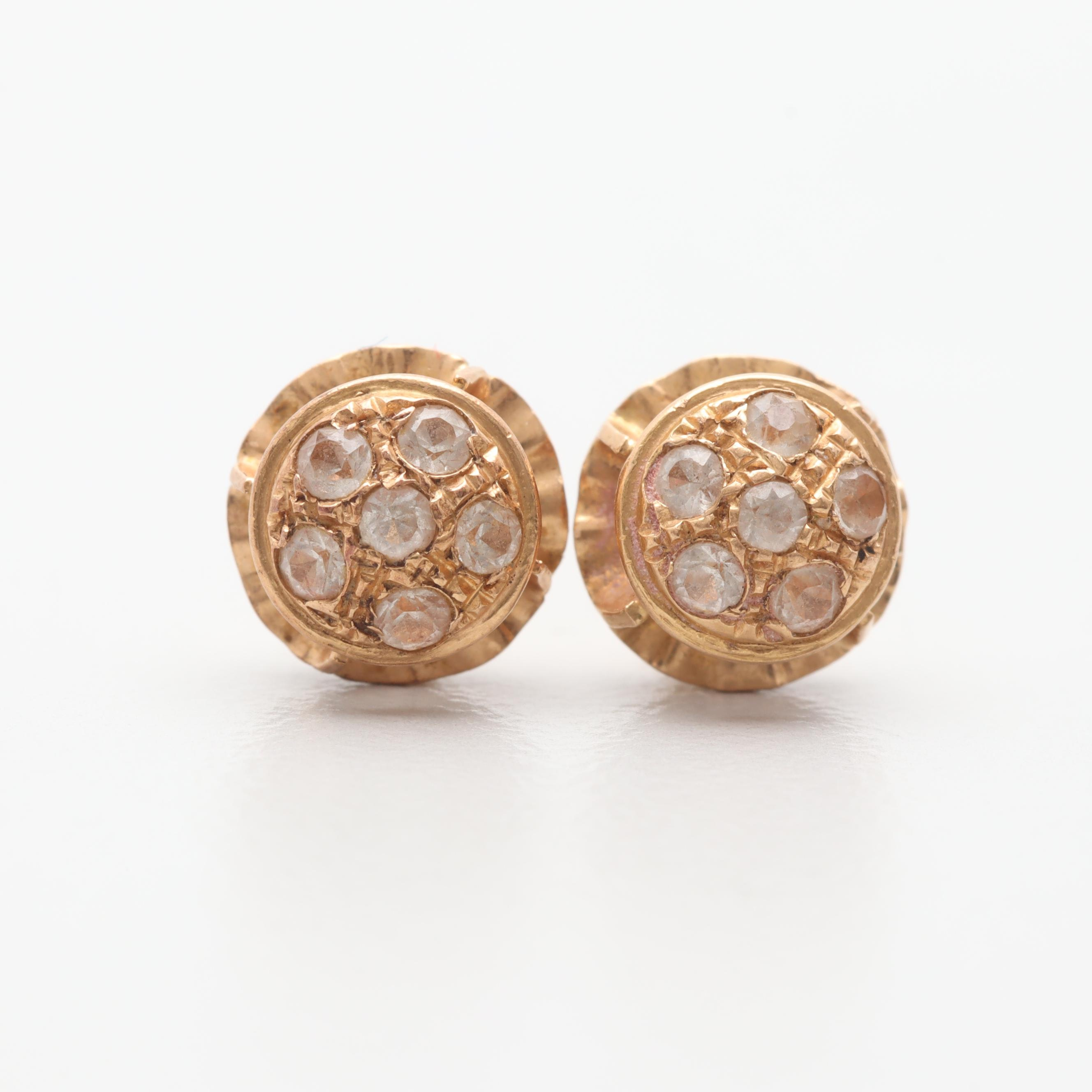 19K Yellow Gold Synthetic White Spinel Earrings