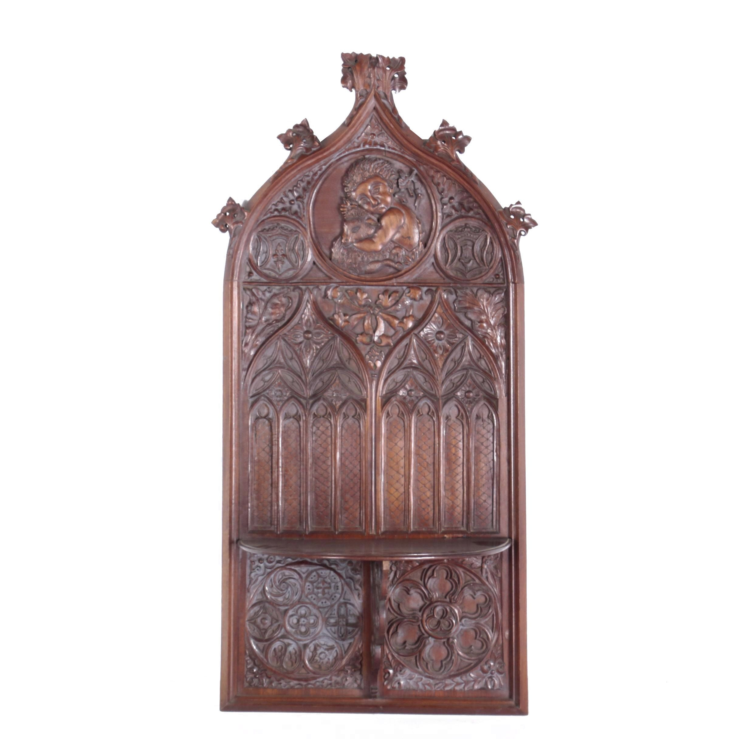 Gothic Revival Walnut Ecclesiastical Wall Panel with Folding Shelf