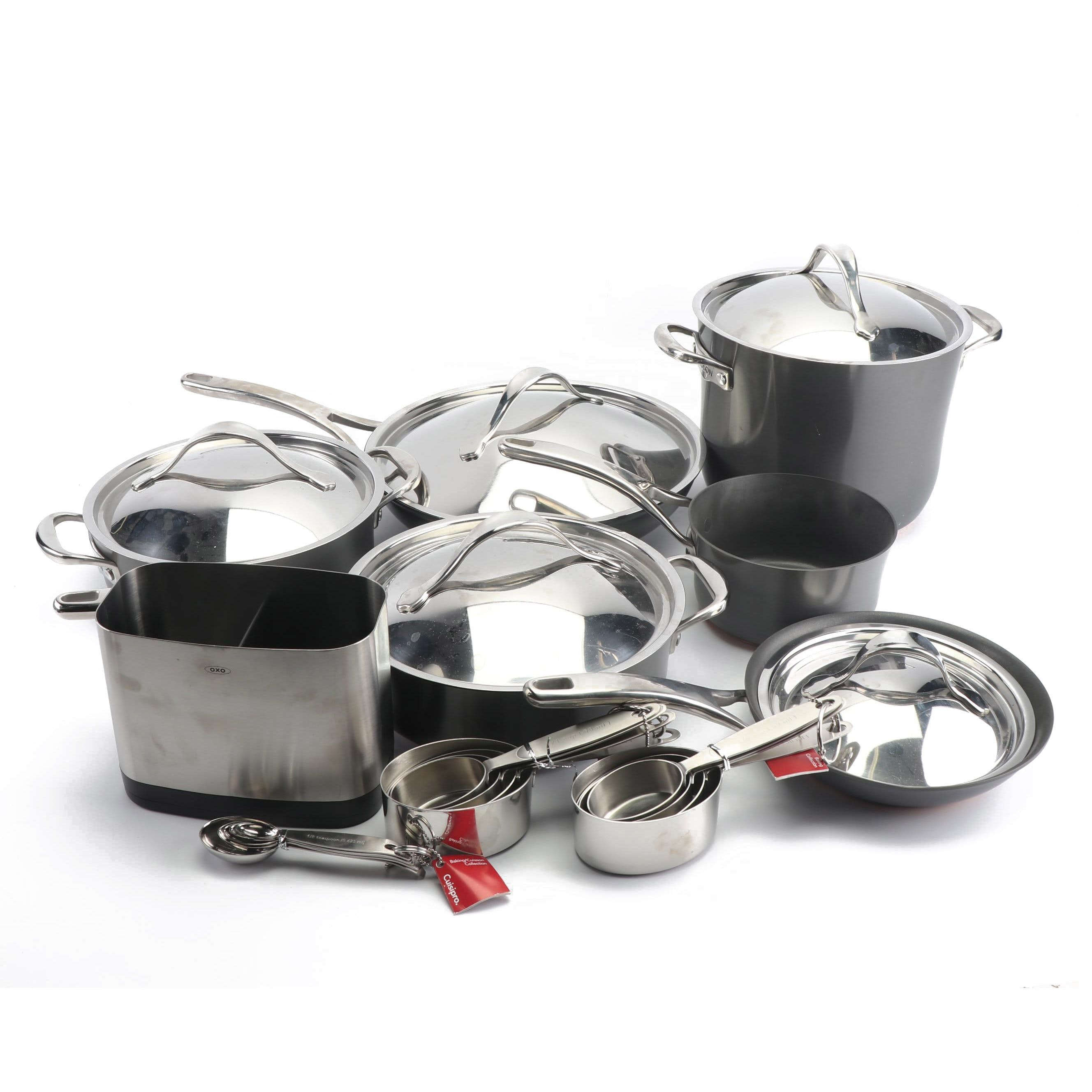 """Anolon Nouvelle """"Copper Luxe"""" Cookware with Cuisipro Measuring Cups"""