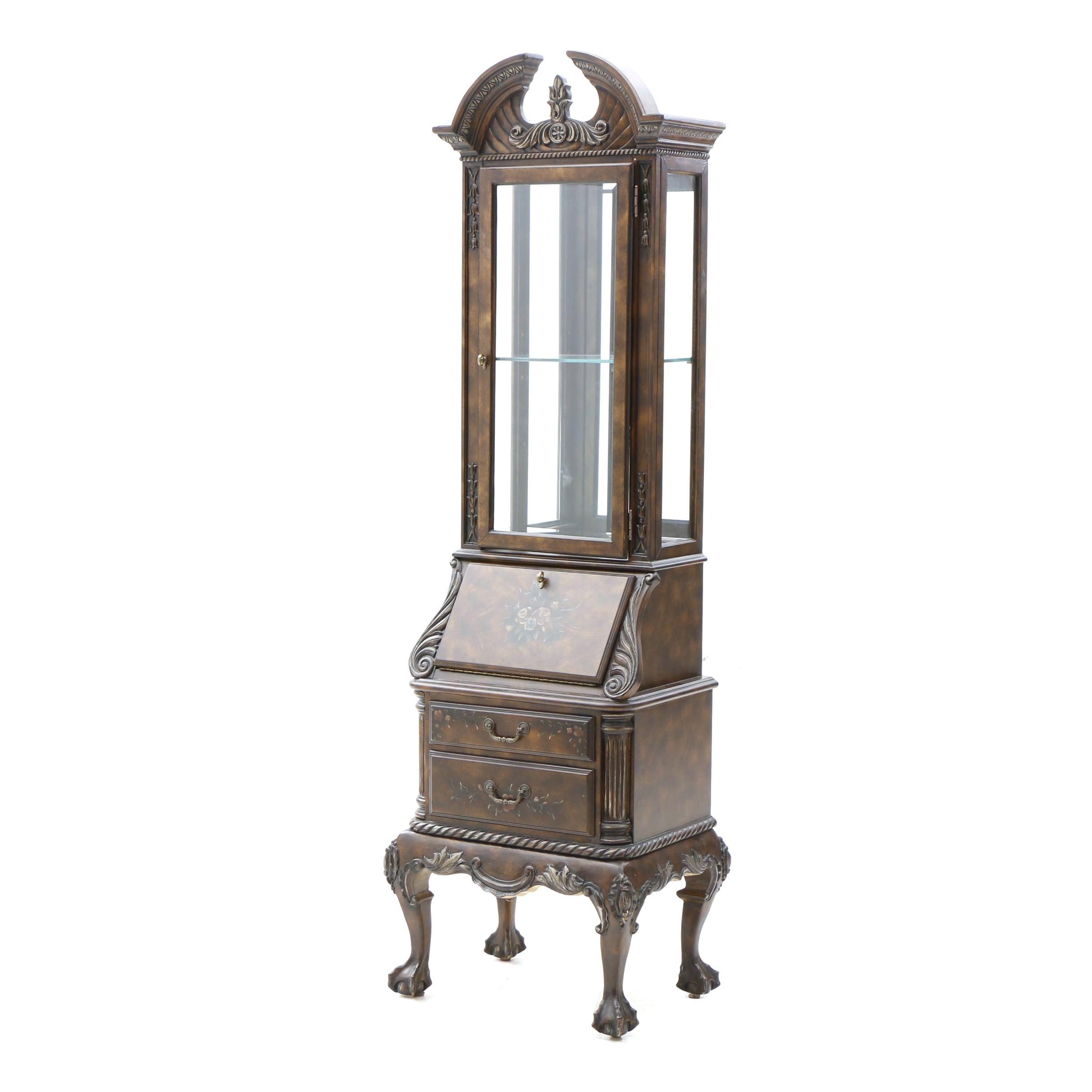 Narrow Secretary and Display Cabinet