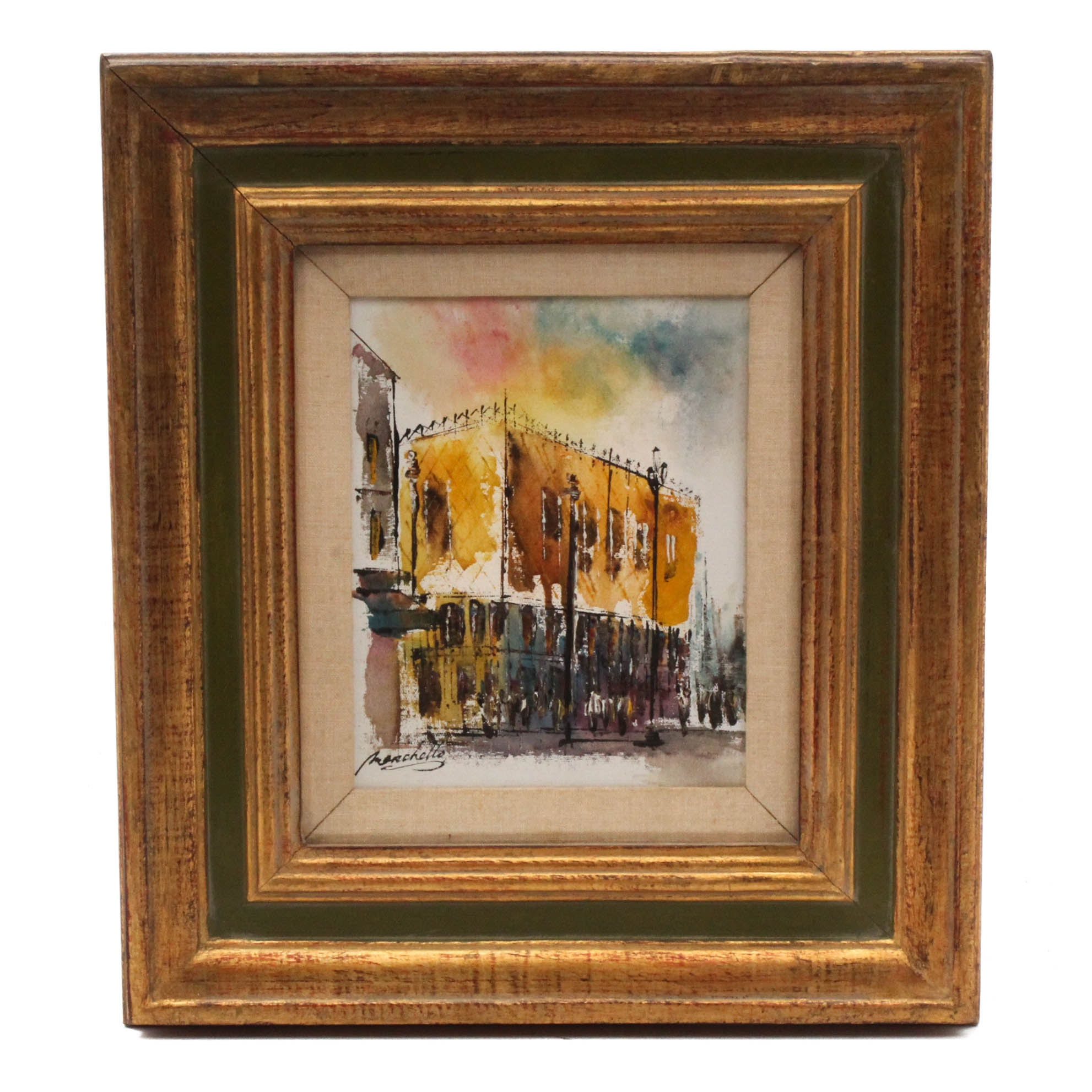 Marchetto Impressionist Oil Painting of Building Facade